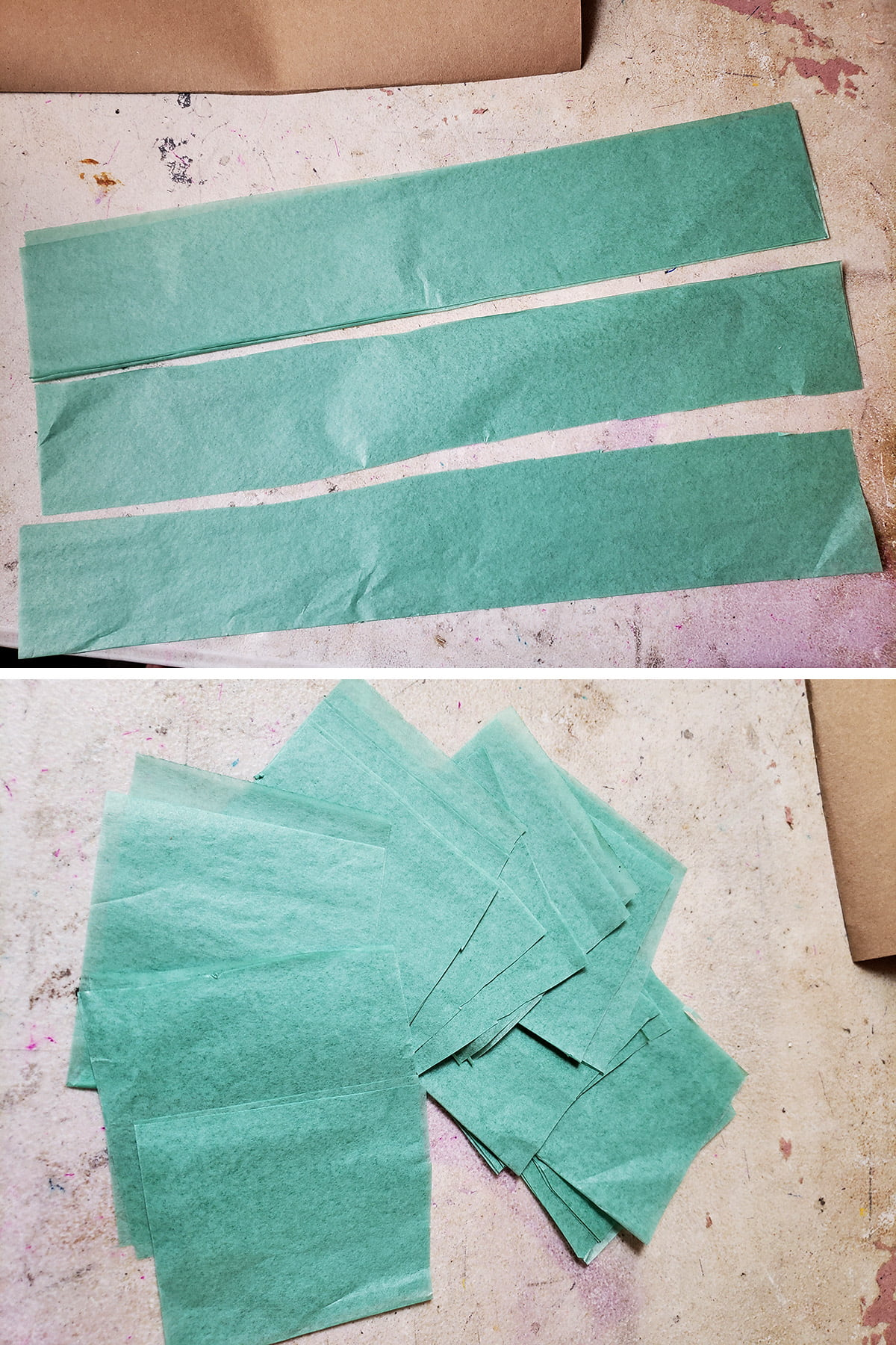 A two part compilation image showing strips cut from light green tissue paper, and then squares cut from those strips.