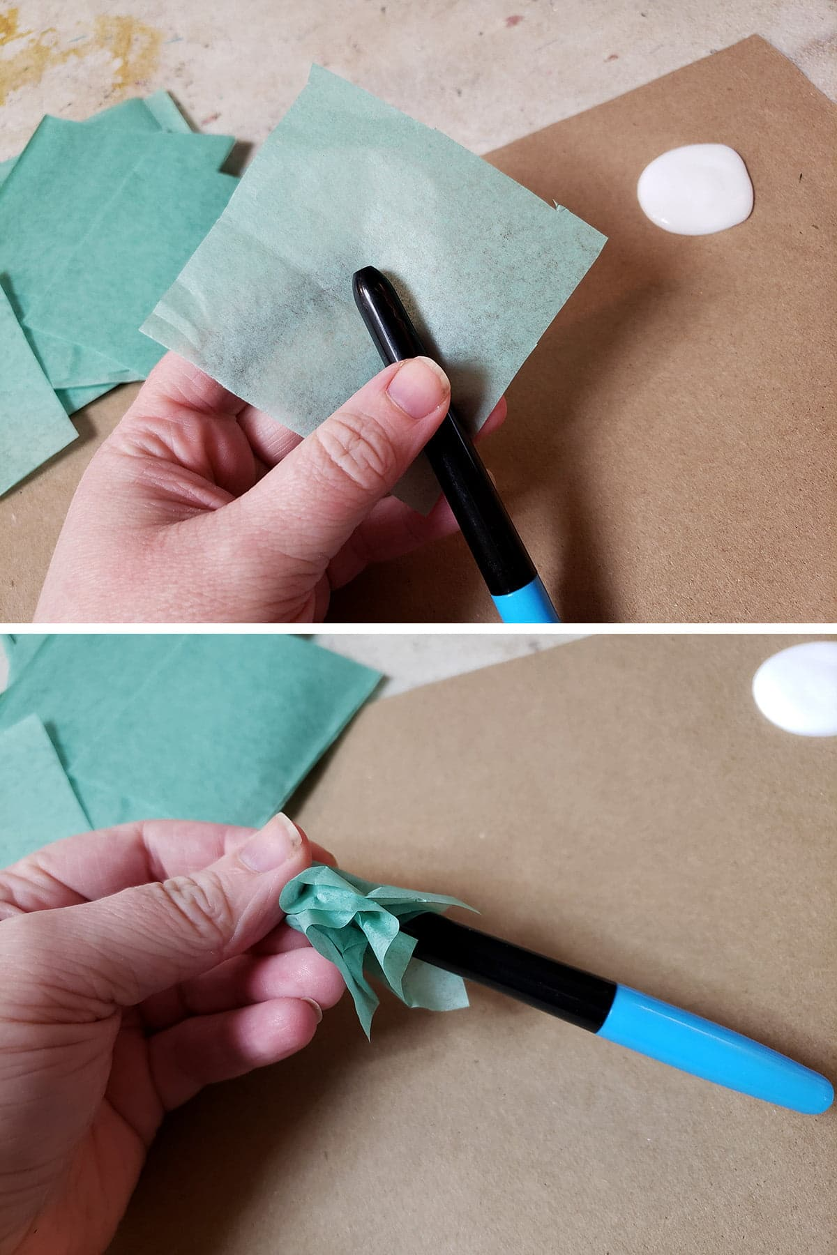 A two part compilation image shows a square of tissue being wrapped down around a pen.