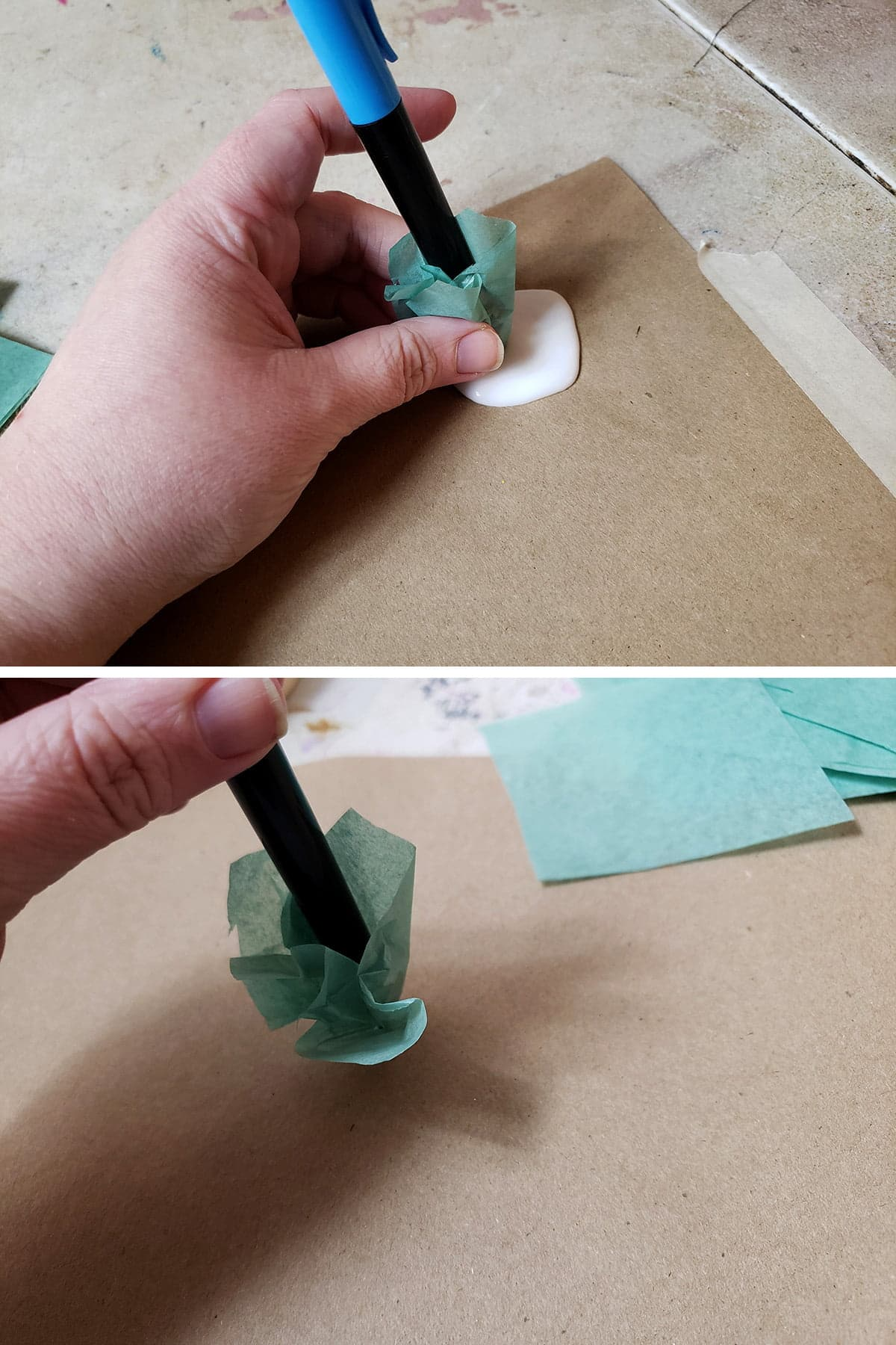 A two part compilation image shows the tissue-covered pen being dabbed in glue, then applying the tissue to a piece of brown paper, forming a puff.