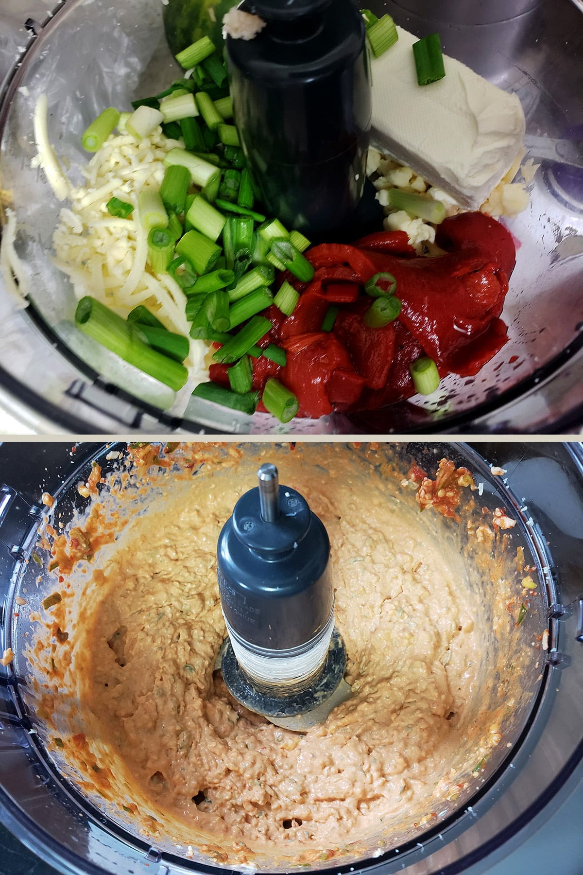 A two photo compilation image. On the top, distinct ingredients are shown in a small food processor. One the bottom, the ingredients have been blended together to form a reddish mixture.