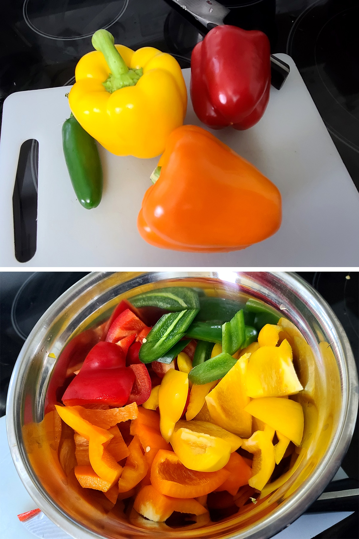 Red, orange, yellow, and jalapeno peppers, before and after being chopped up.