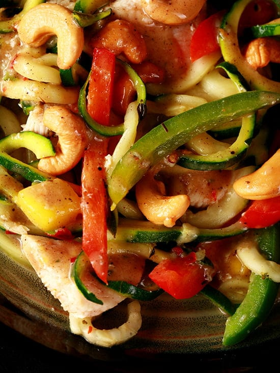 Spicy Tropical Chicken Zoodles
