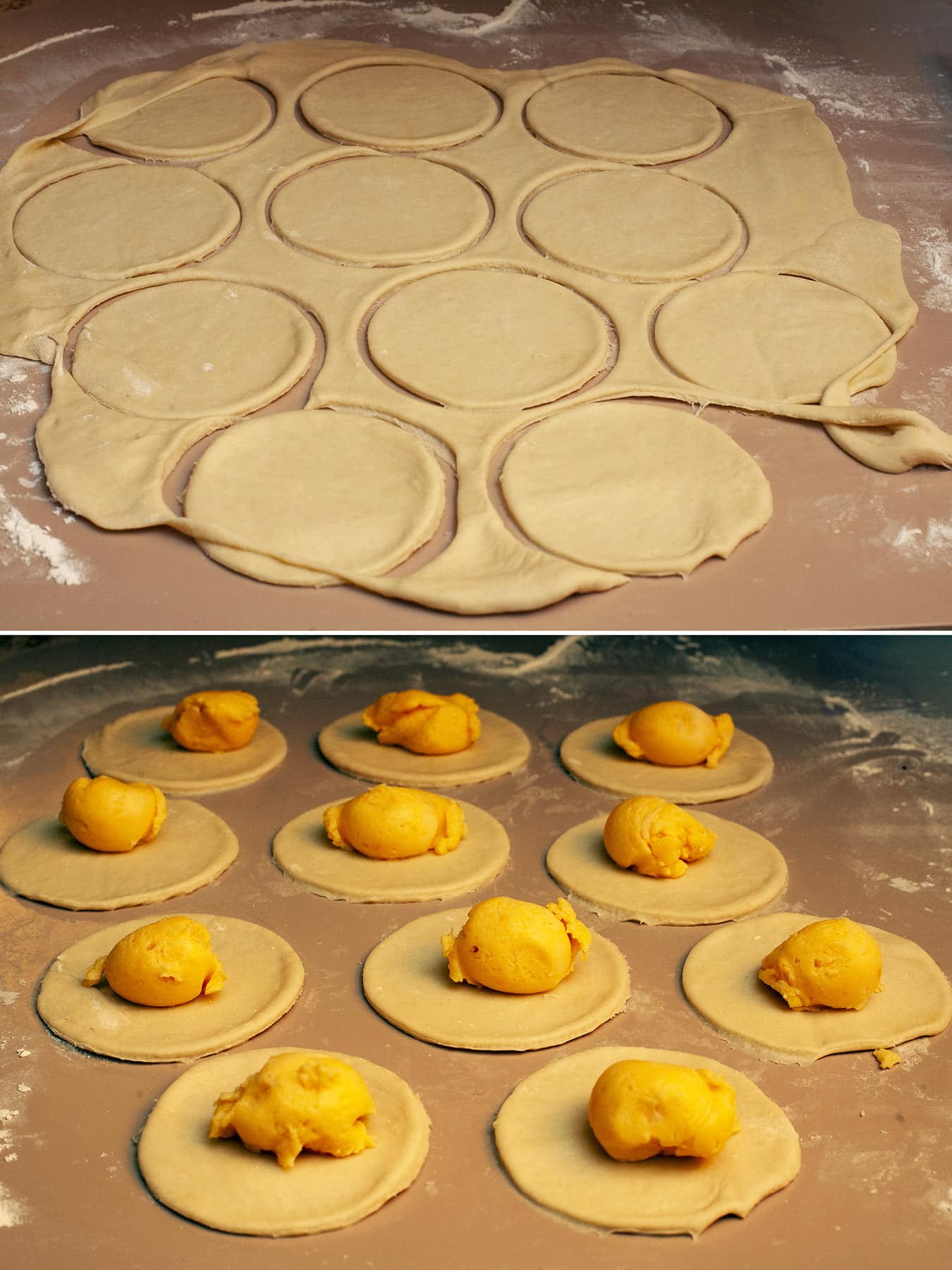 A 2 photo compilation image, showing rolled out dough with rounds cut in it, and rounds of dough with little balls of cheesy potatoes on each.