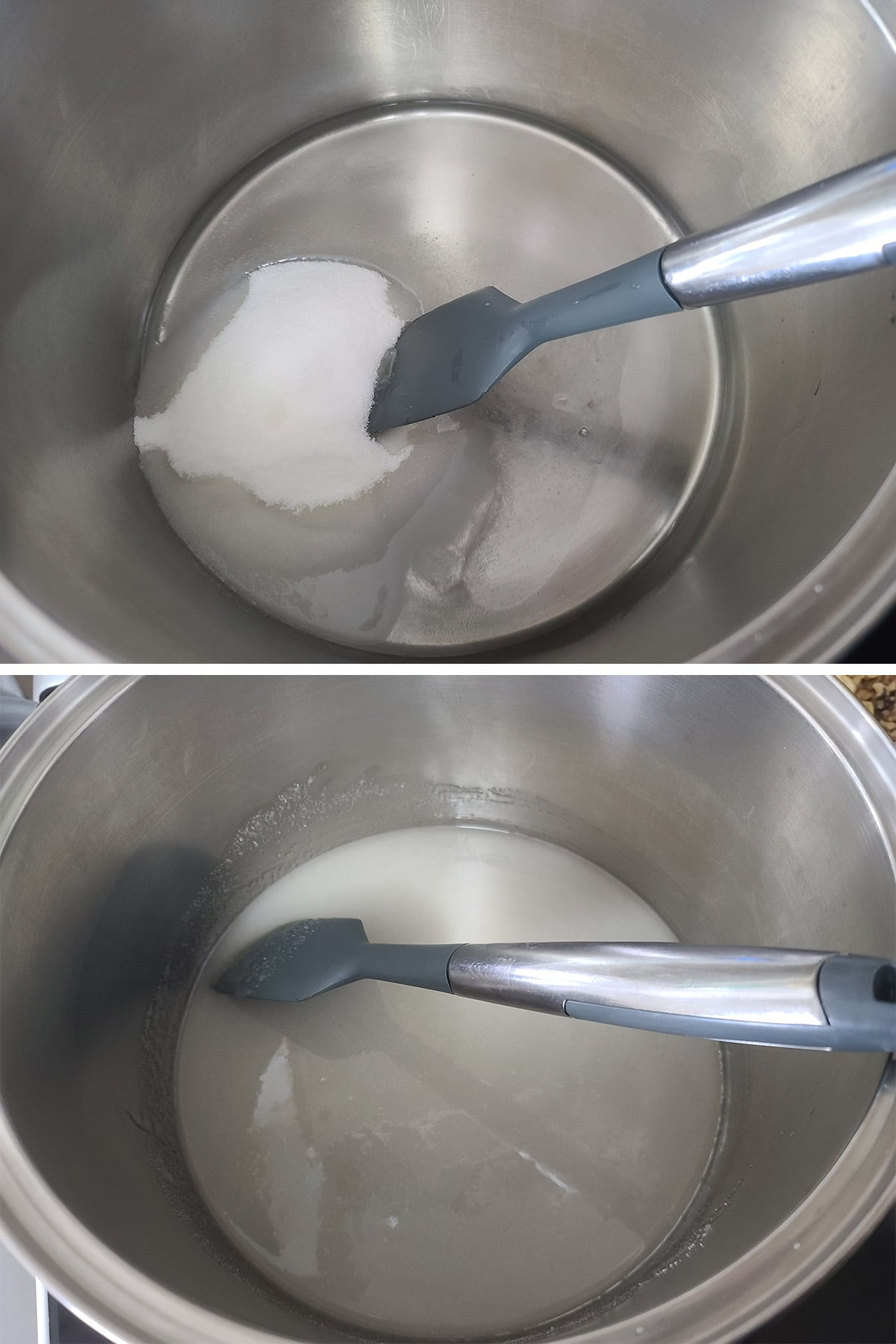Corn syrup and water being mixed in a large pot.