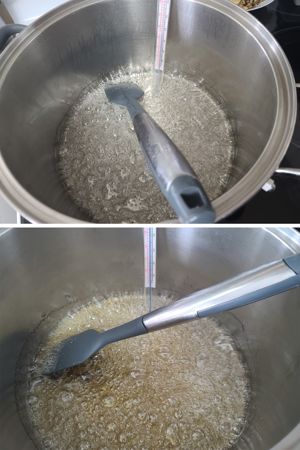 The sugar mixture boiling in a pot, starting to turn golden.