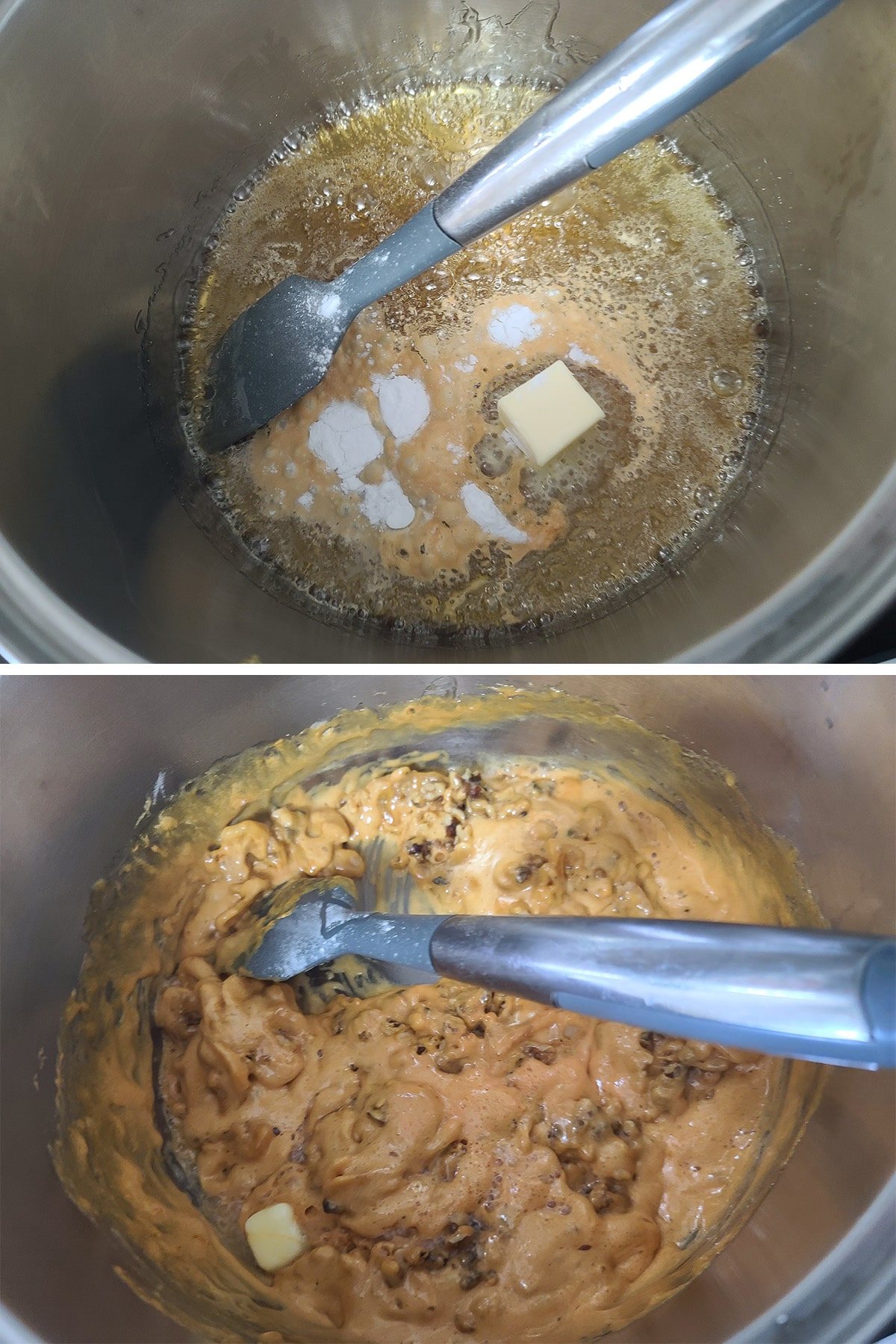 Butter, baking soda, nuts, and banana chips being added to the pot.