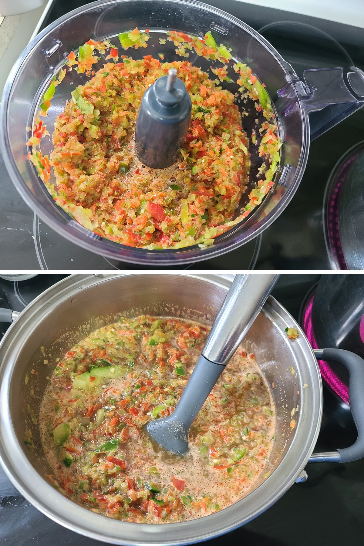 A finely chopped peppers in a food processor, then added to the pot.