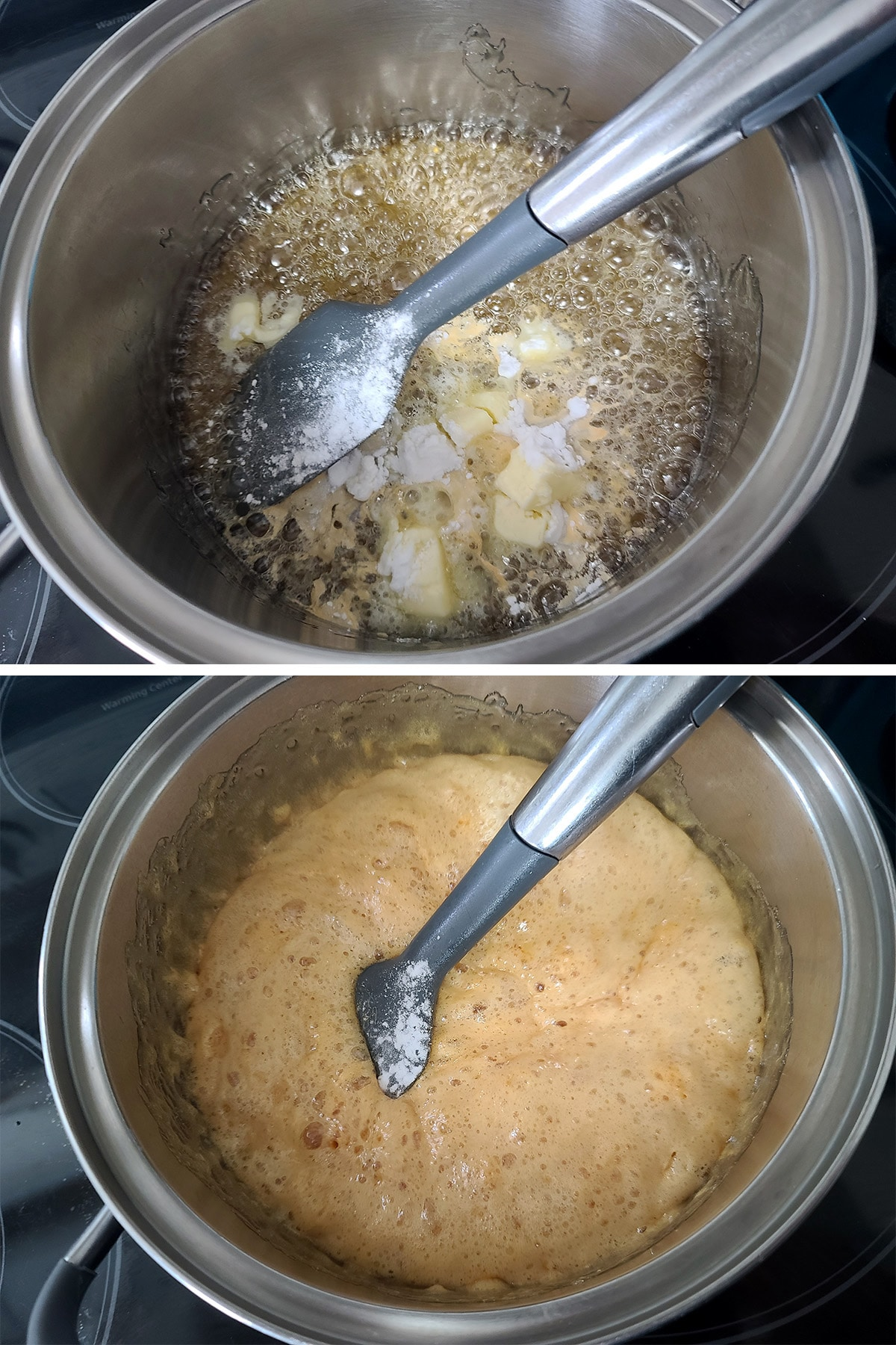 Butter and baking soda being mixed into the hot sugar syrup.