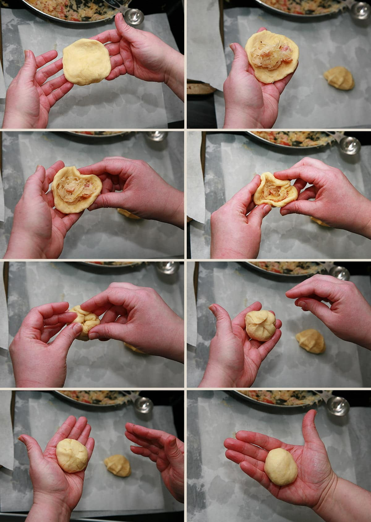 An 8 image collage of photos, demonstrating how to fill and roll the buns, per the instructions in the post.