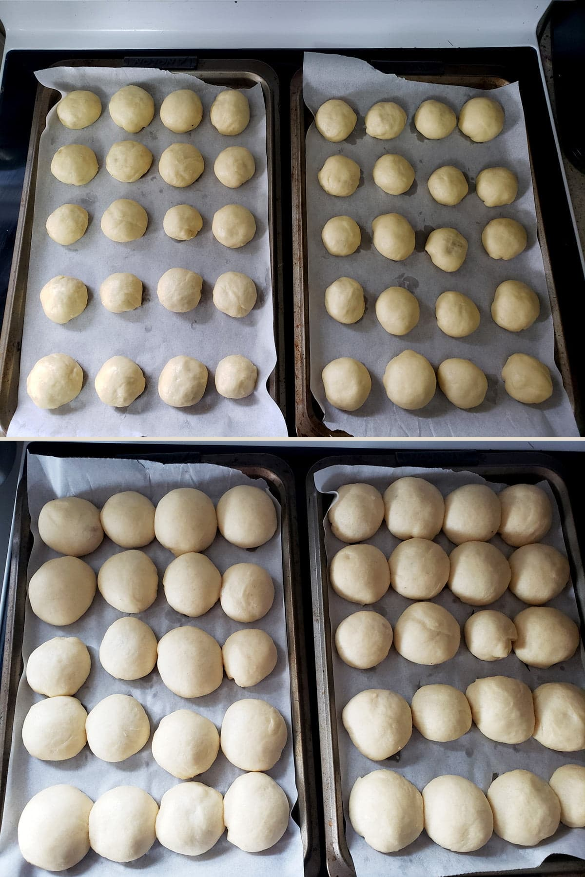 A two photo collage, showing 2 trays of unbaked Pyrizhky buns, before and after the final rise.