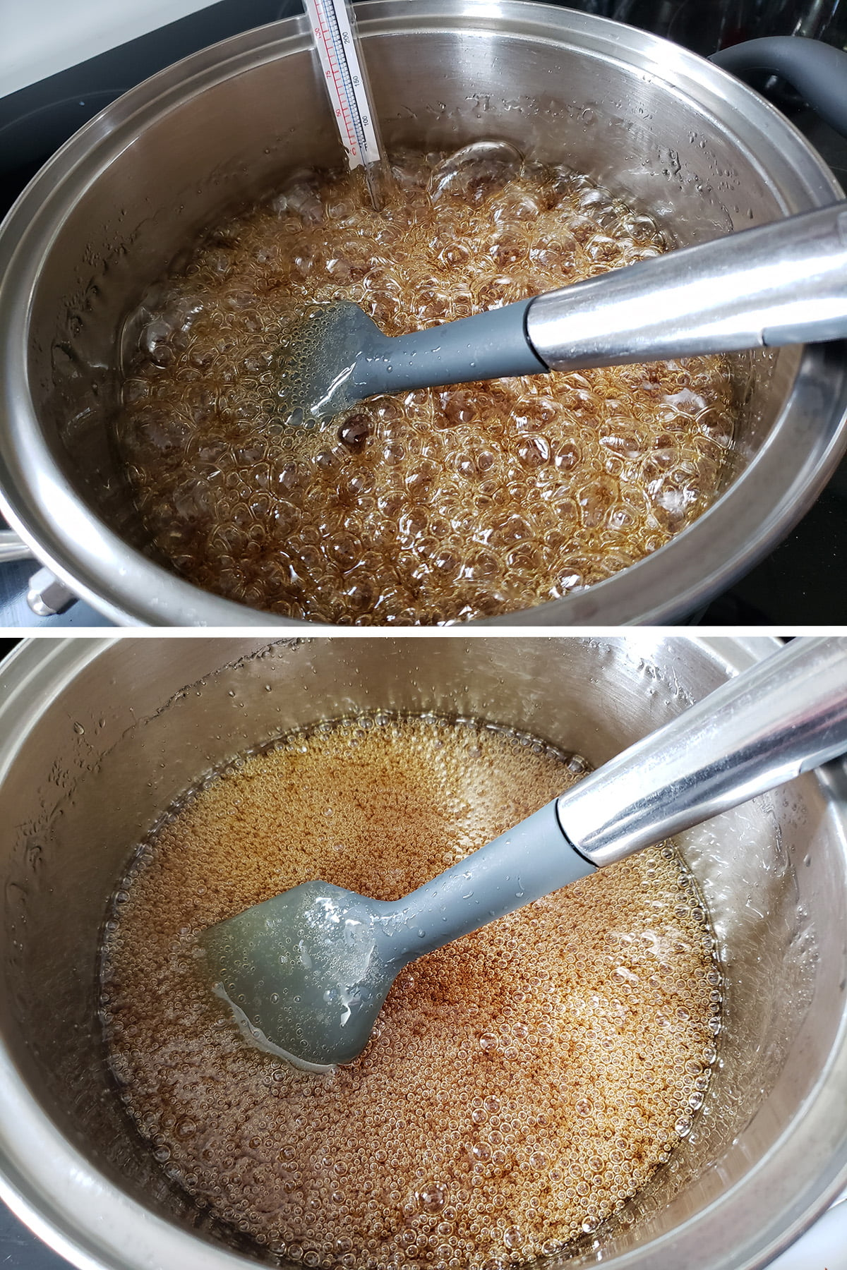 A two part compilation image showing boiling caramel in a pot.