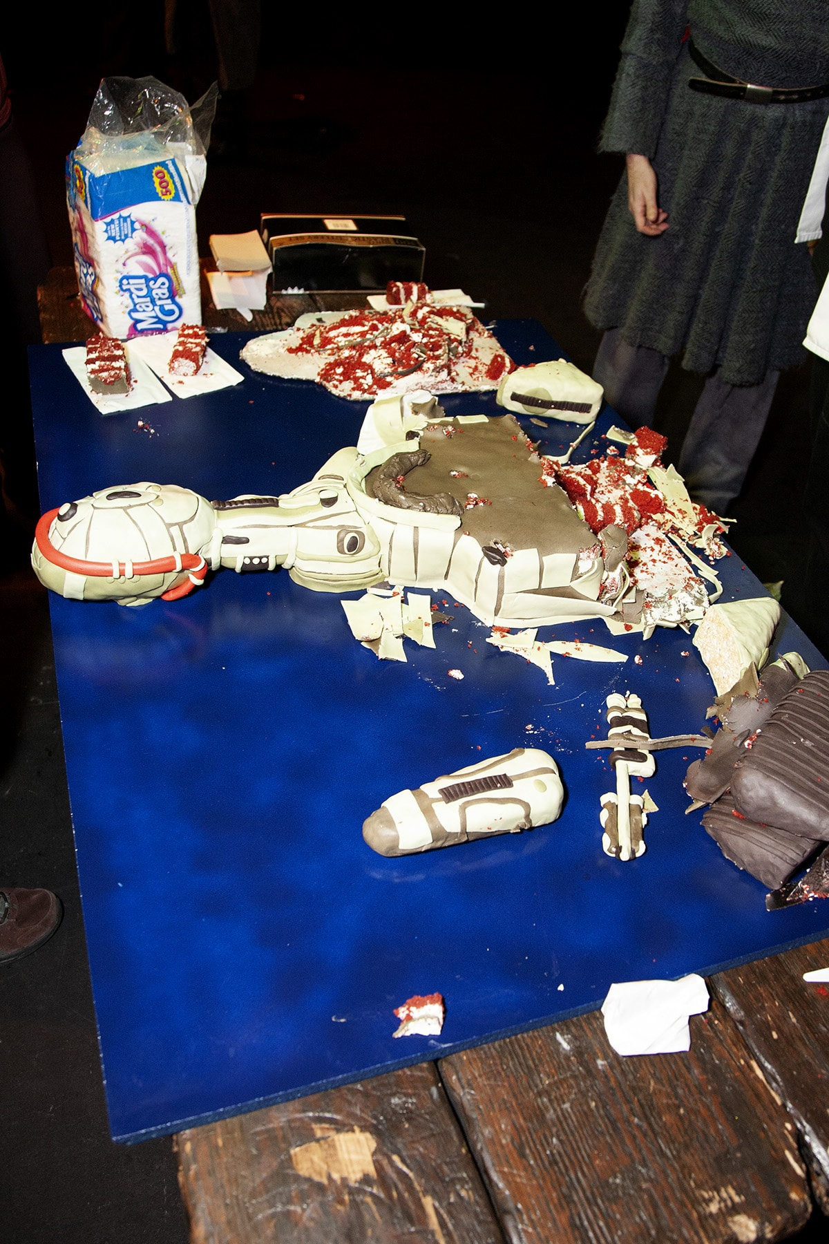 The remains of the Klingon cake, on a long table.