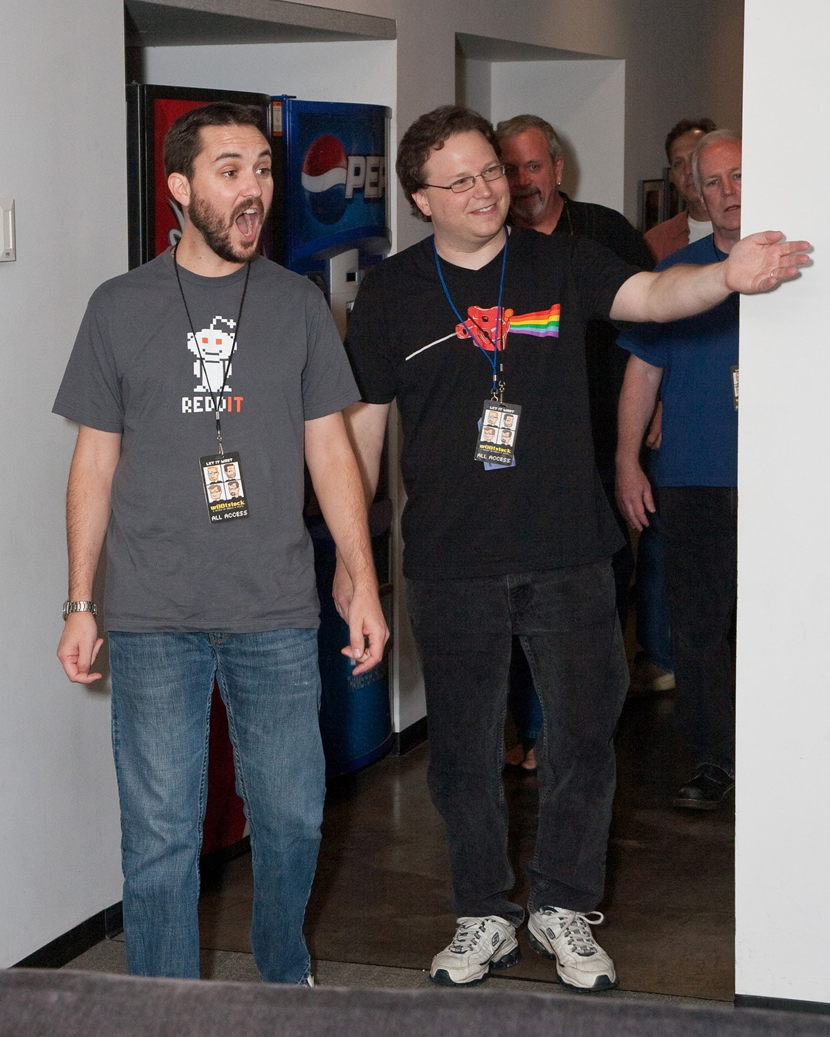 Paul and Storm leading Wil Wheaton into the room.
