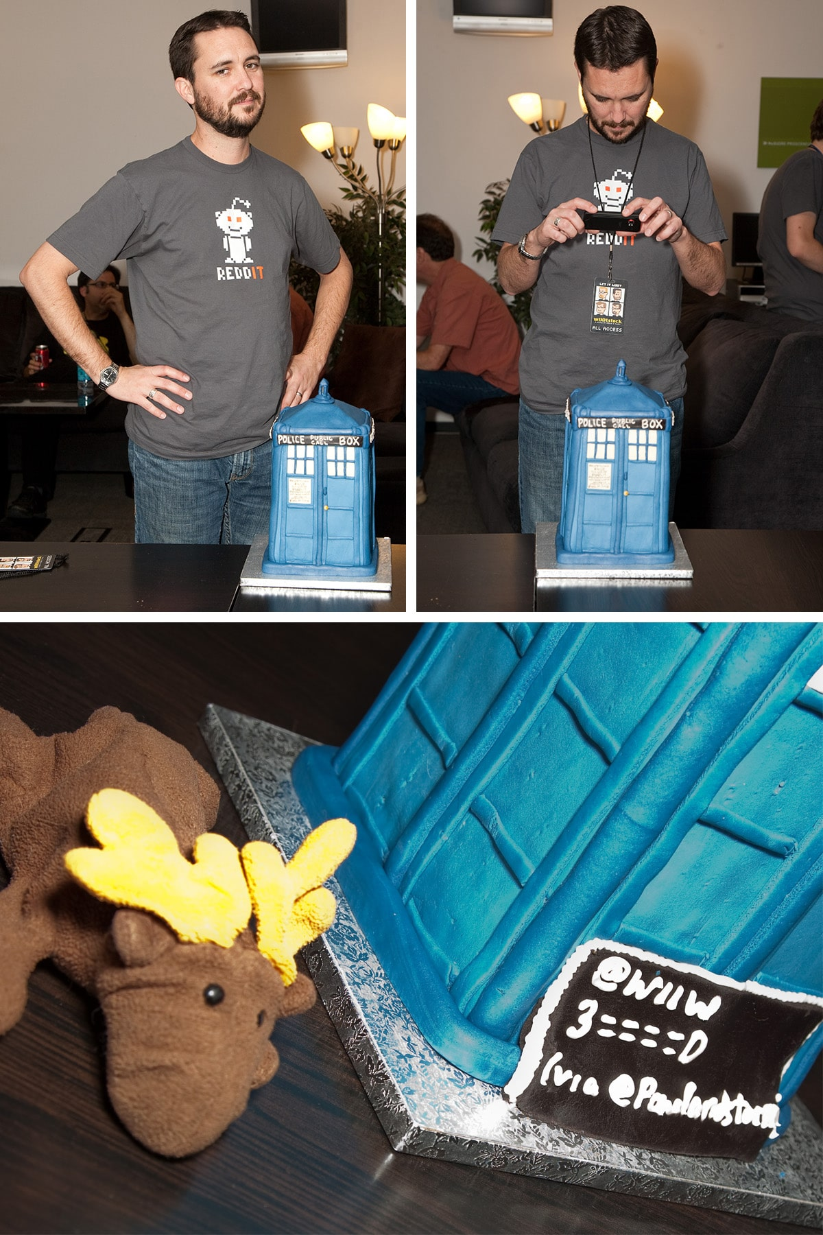 A compilation image of Wil Wheaton with the TARDIS cake.