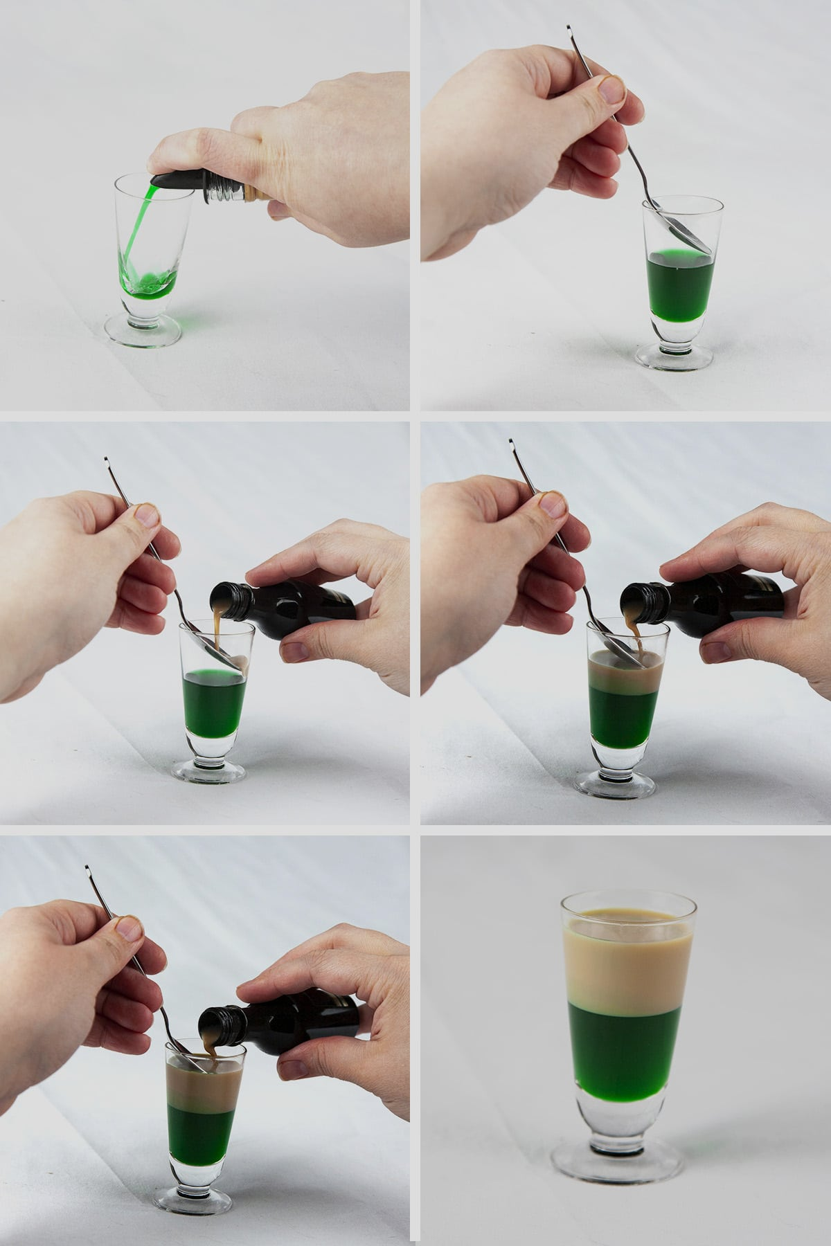 A 6 photo compilation image showing tan coloured cream liqueur being layered onto a green liqueur in a shot glass.