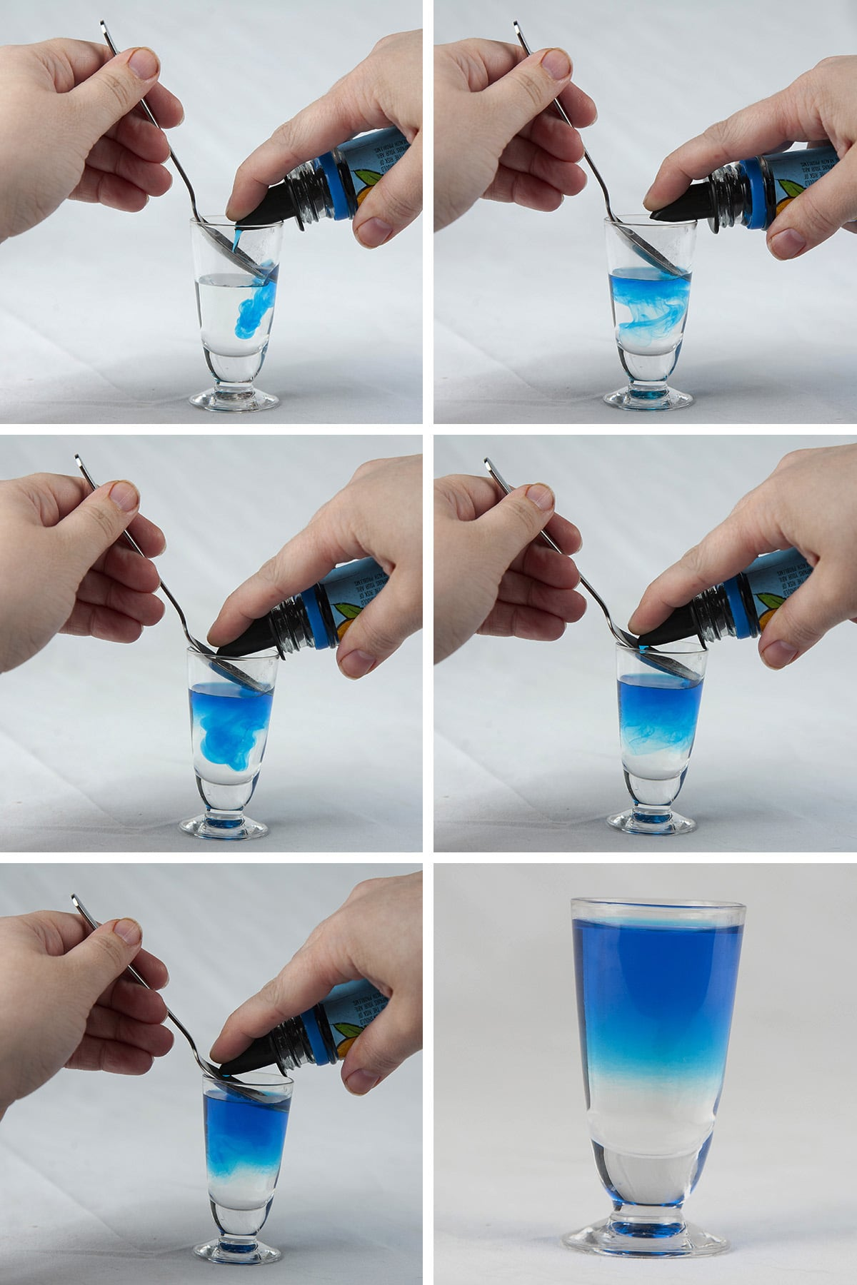 A 6 photo compilation image showing blue liqueur being layered onto a clear liqueur in a shot glass.