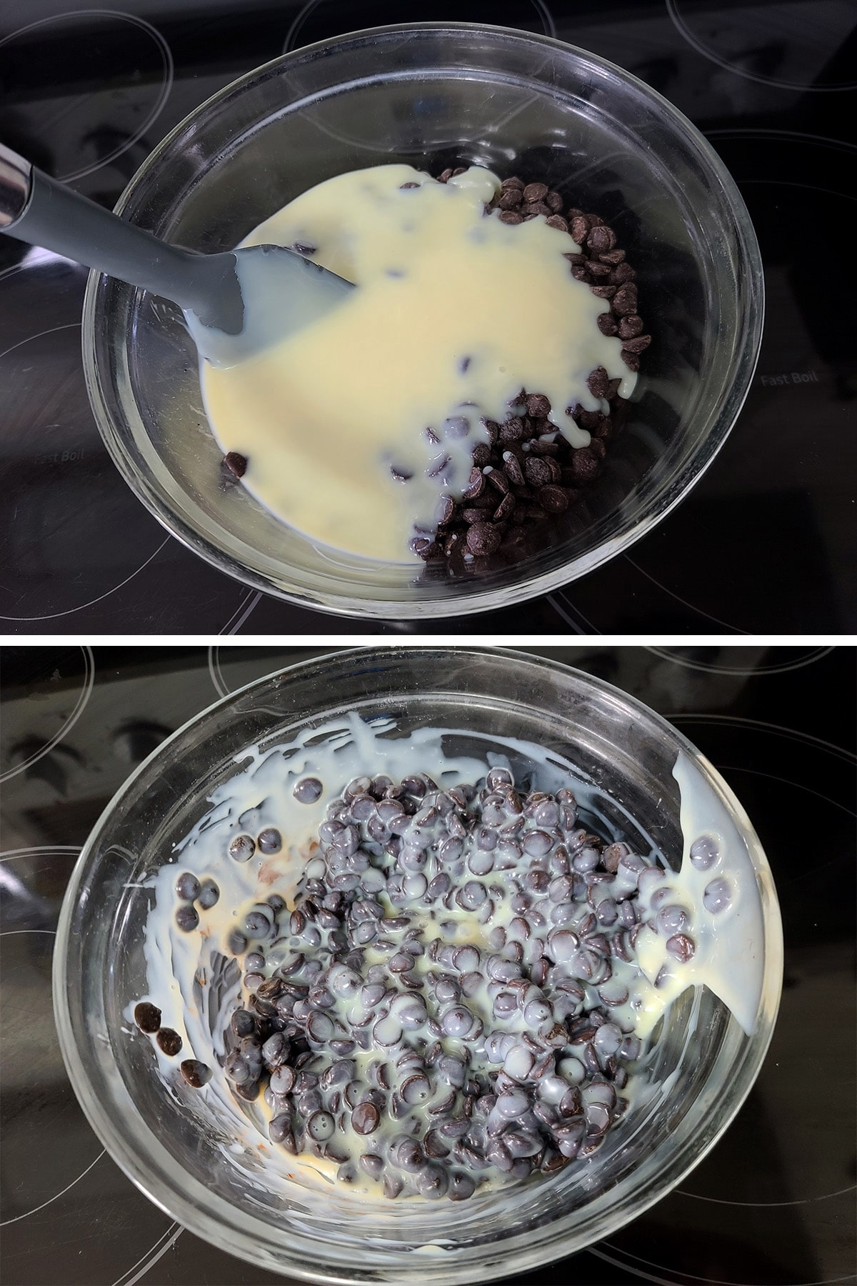 Sweetened condensed milk and chocolate chips being stirred together in a glass bowl.