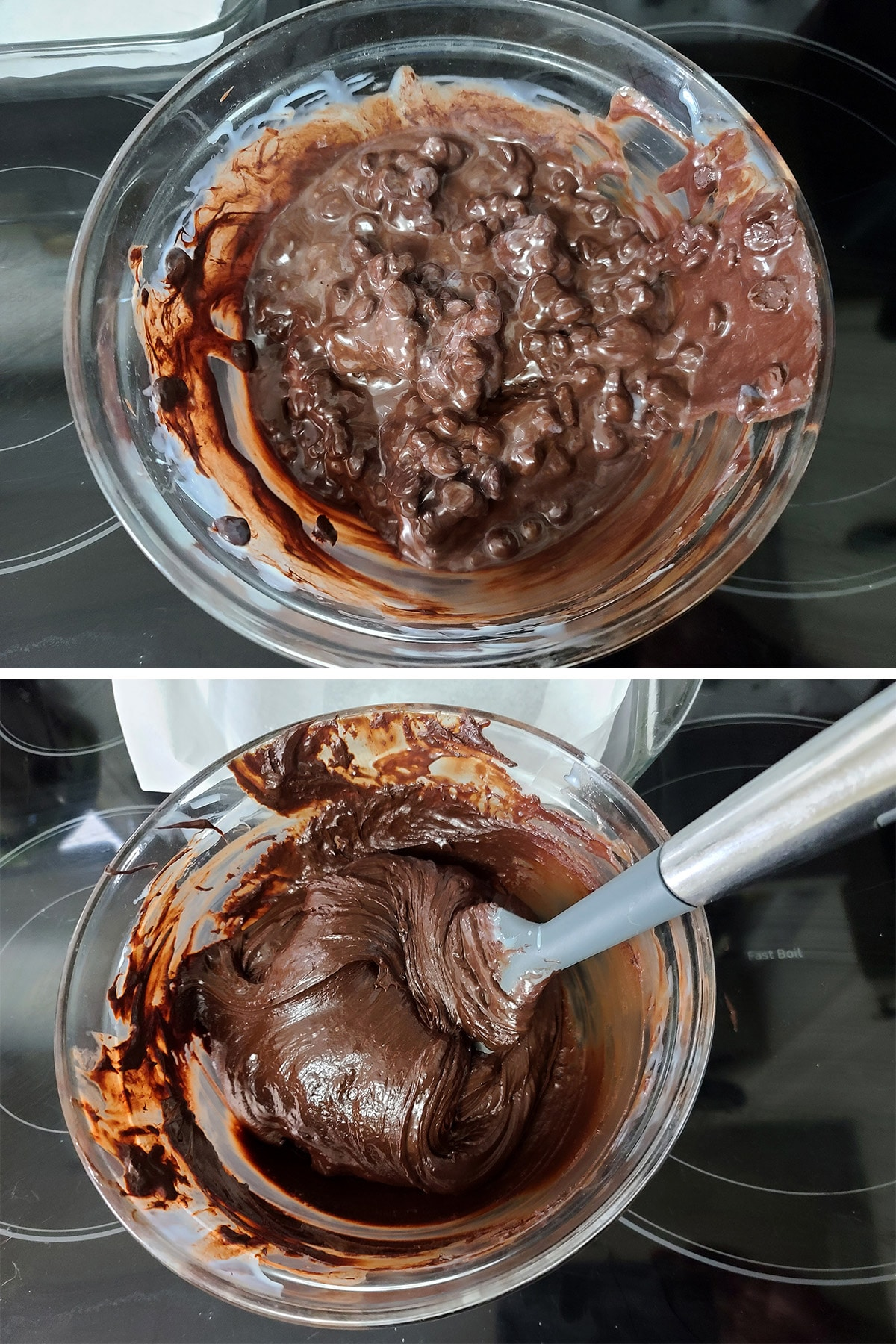 Melted chocolate chip mixture being stirred smooth.