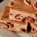 A plate of traditional style orange cranberry fudge.