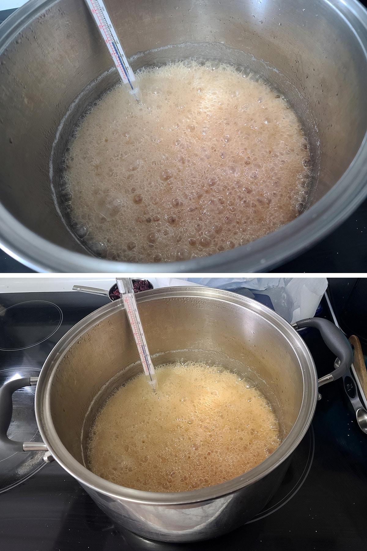 The fudge mixture boiling in a big pot.