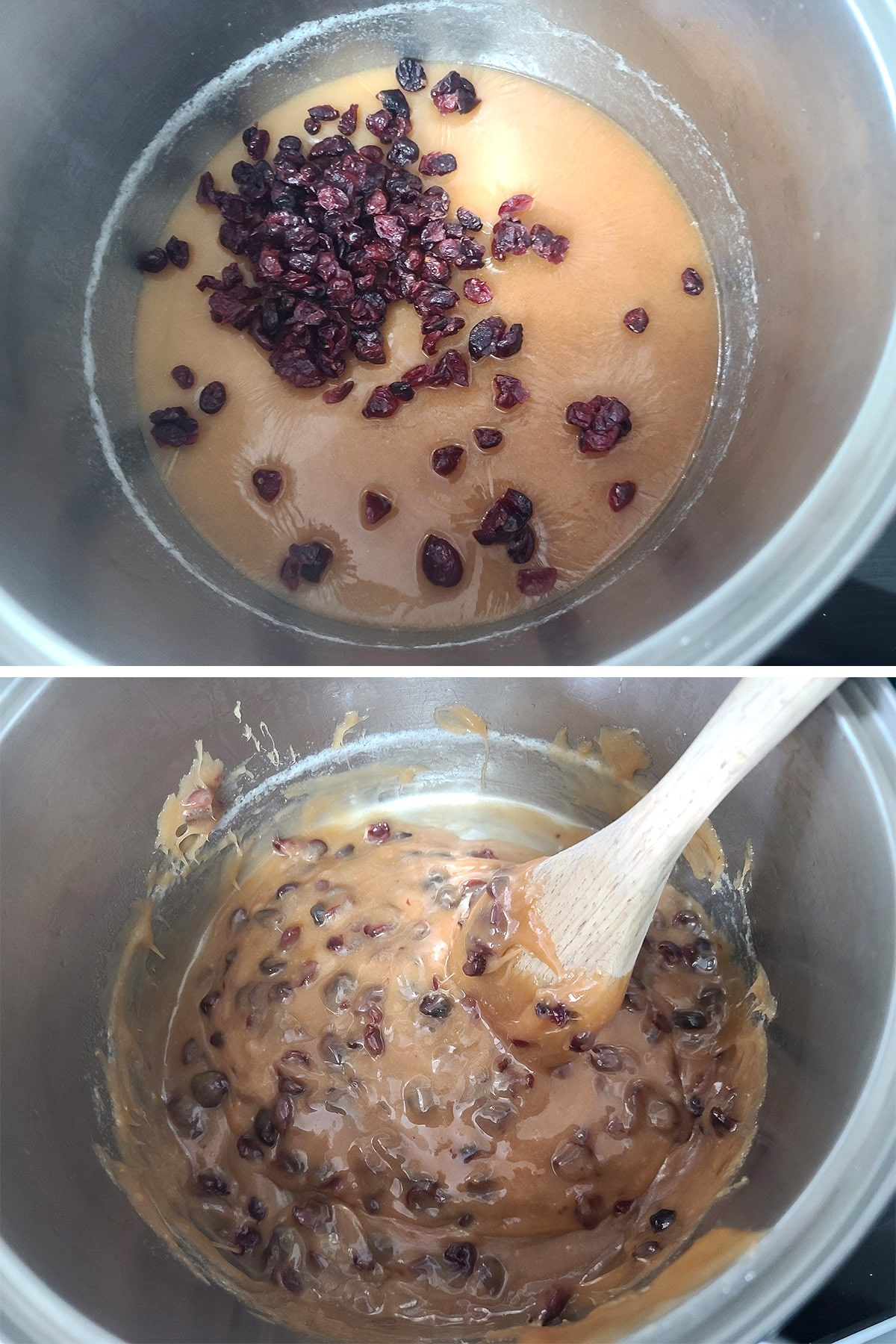 Cranberries and extract added to the pot of fudge and stirred.