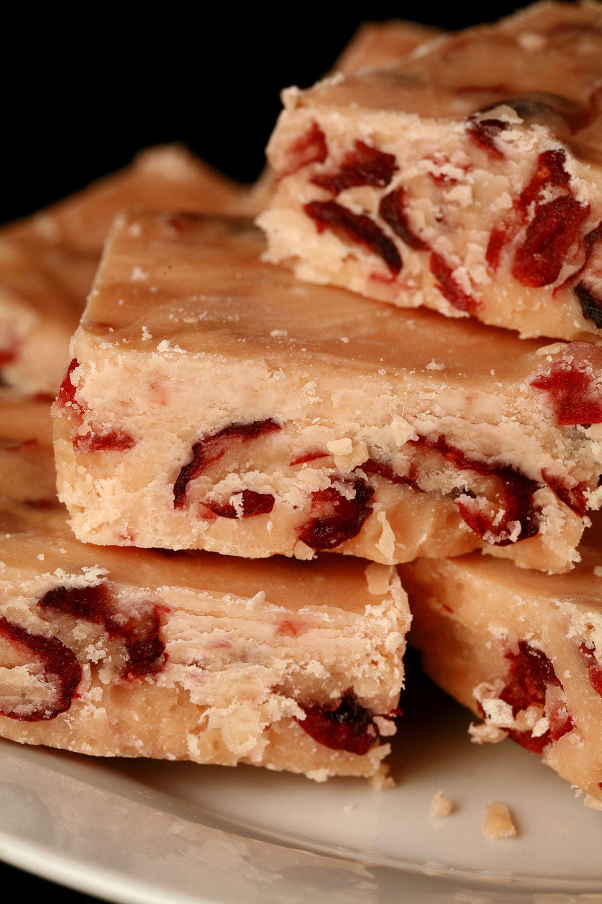 A plate of orange cranberry traditional fudge.
