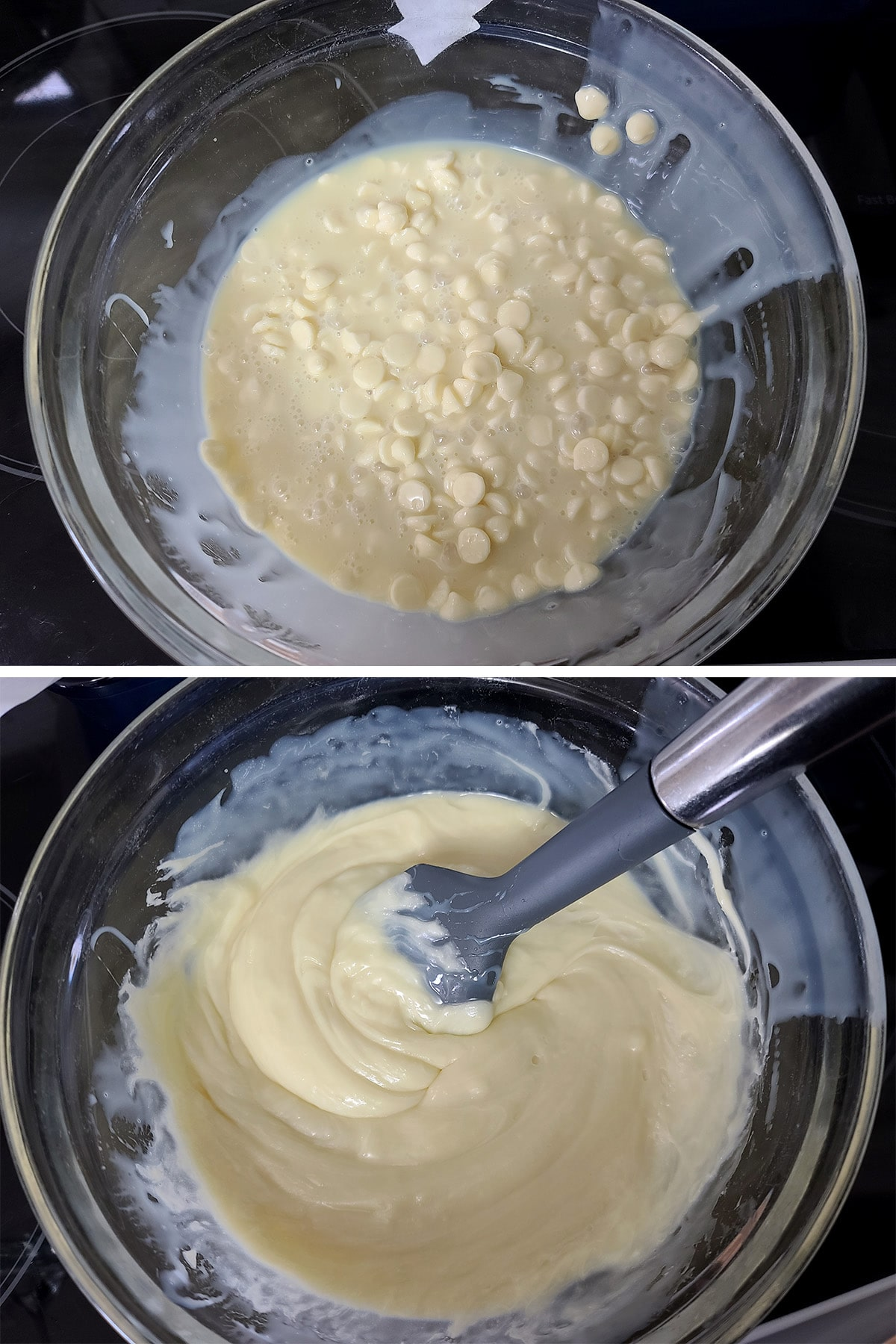 White chocolate chips and sweetened condensed milk being mixed in a glass bowl.