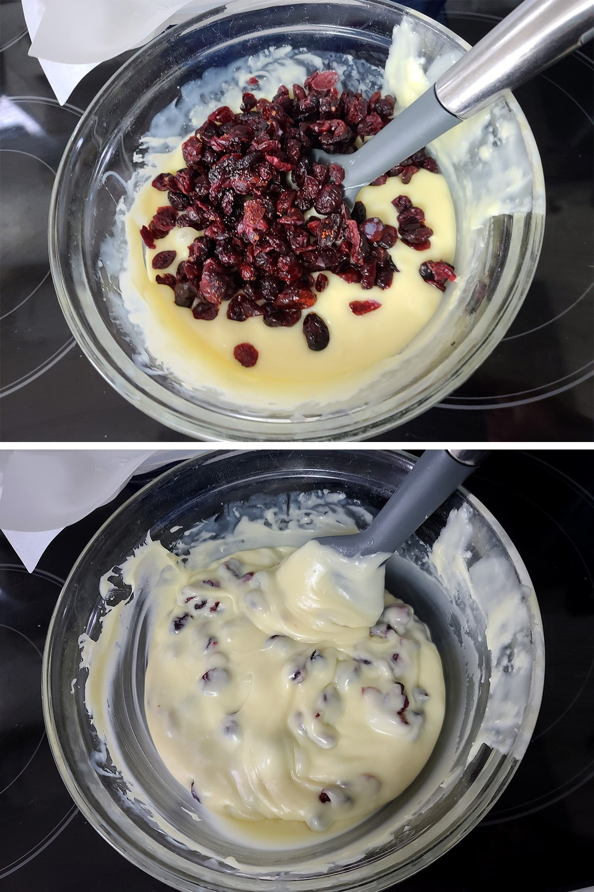 Dried cranberries being stirrred into the melted chocolate mixture.