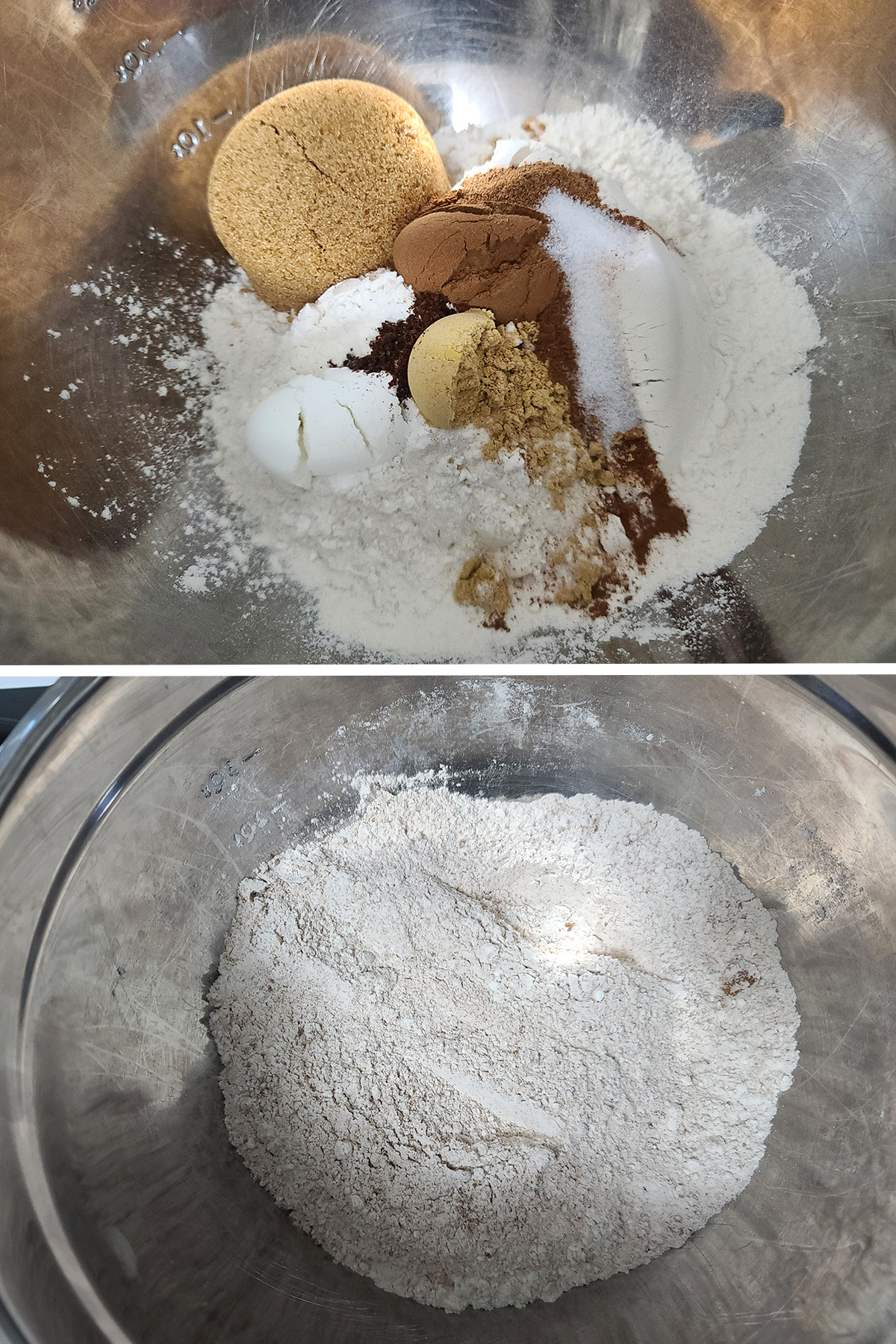 The dry ingredients being mixed together in a bowl.