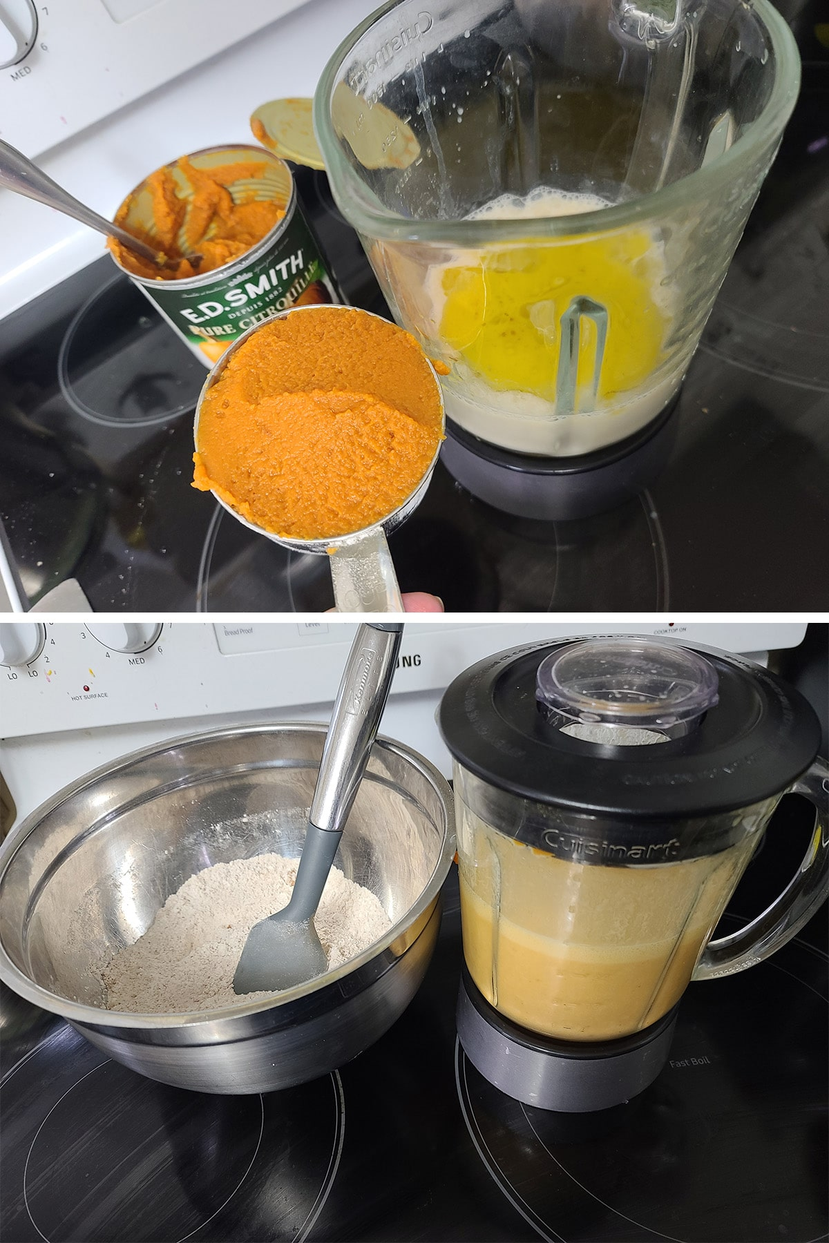 The wet ingredients being added to a blender, and blended.