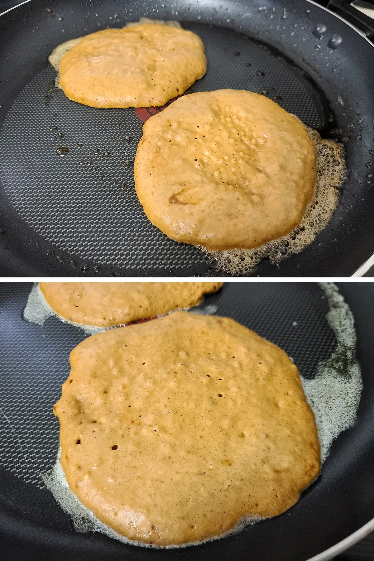 The tops of the pancakes as they're ready to flip - they look a little dry, air bubbles have risen and popped.