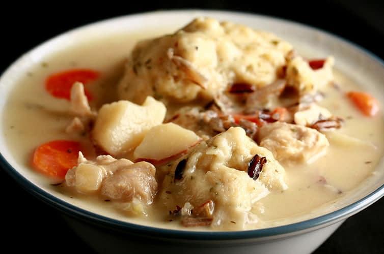 Gluten Free Creamy Chicken Wild Rice Soup & Dumplings