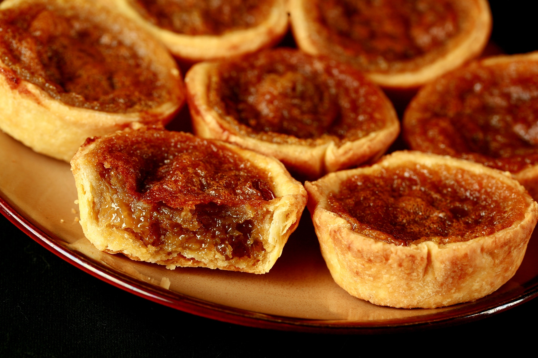 A plate of maple butter tarts.