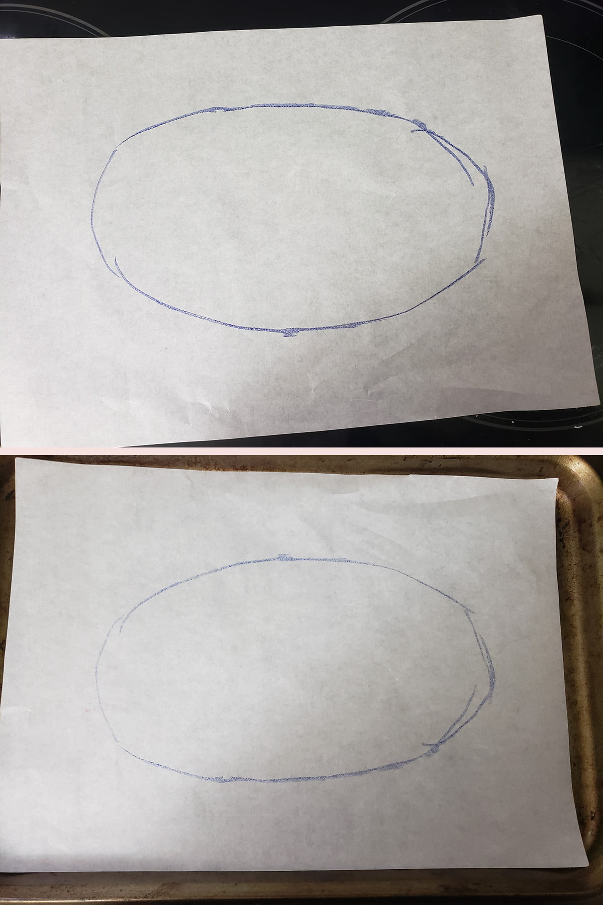 A two part compilation image showing an egg shape drawn on parchment paper, and that piece of parchment placed face down on a baking sheet.