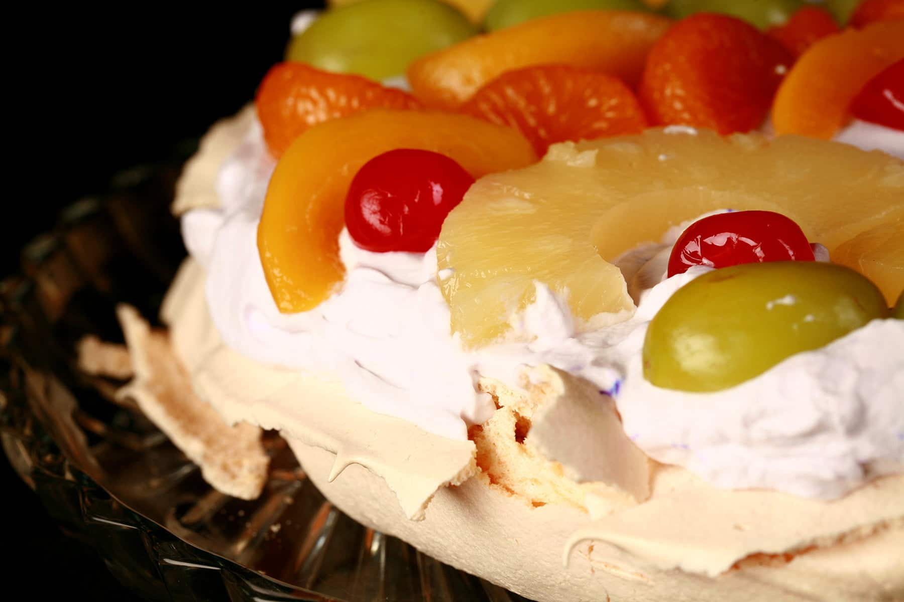 A close up view of an Easter pavlova.