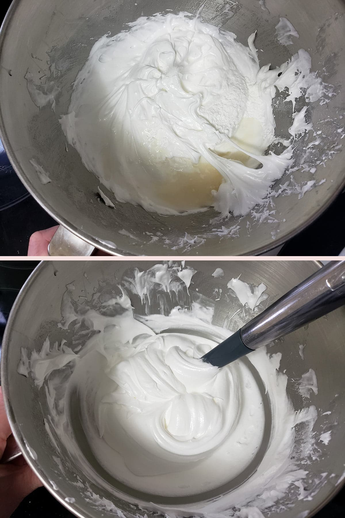 A two part compilation image showing extract, cornstarch, and vinegar being folded into meringue.