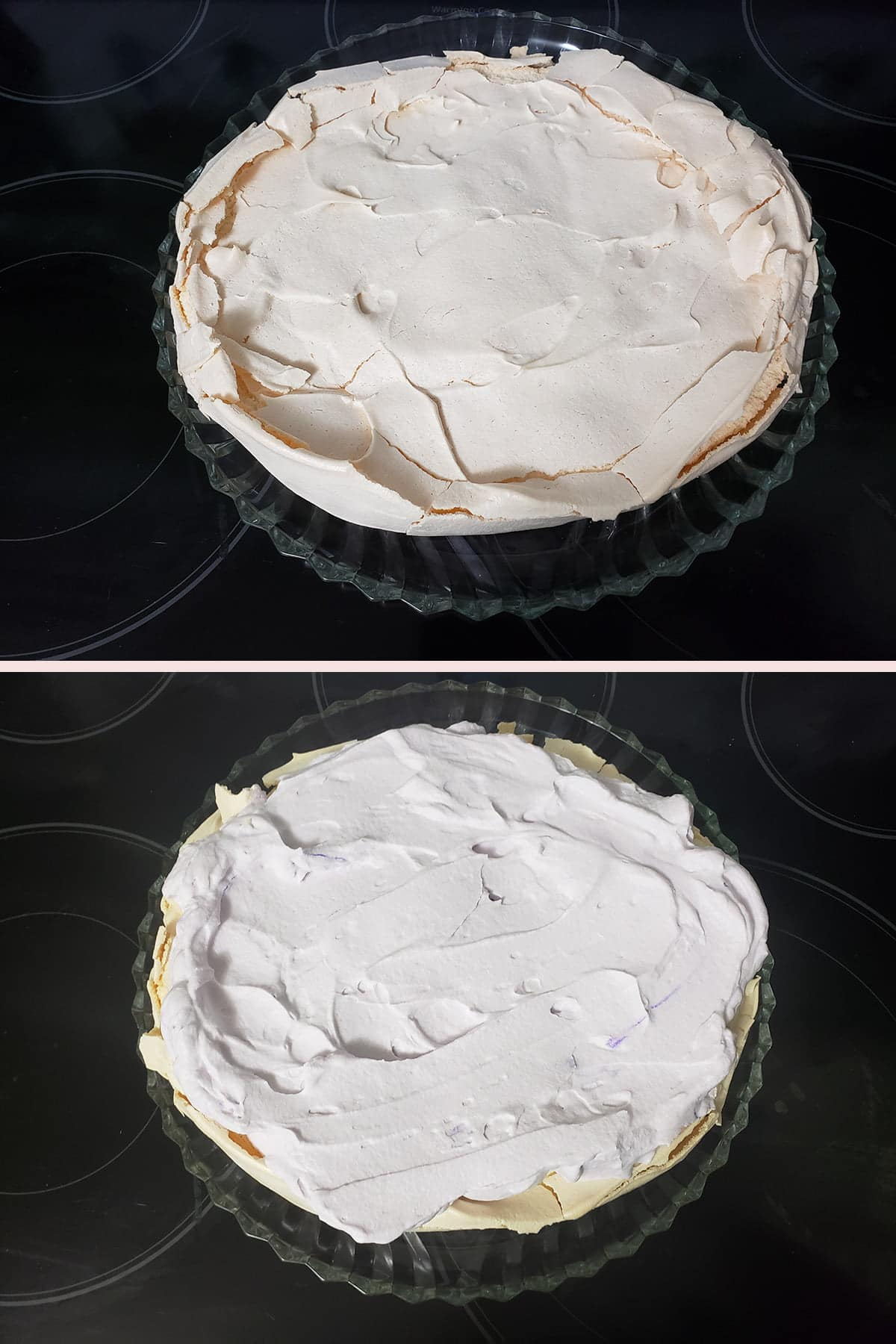 A two part compilation image showing a baked pavlova, and the same pavlova topped with very pale purple whipped cream.