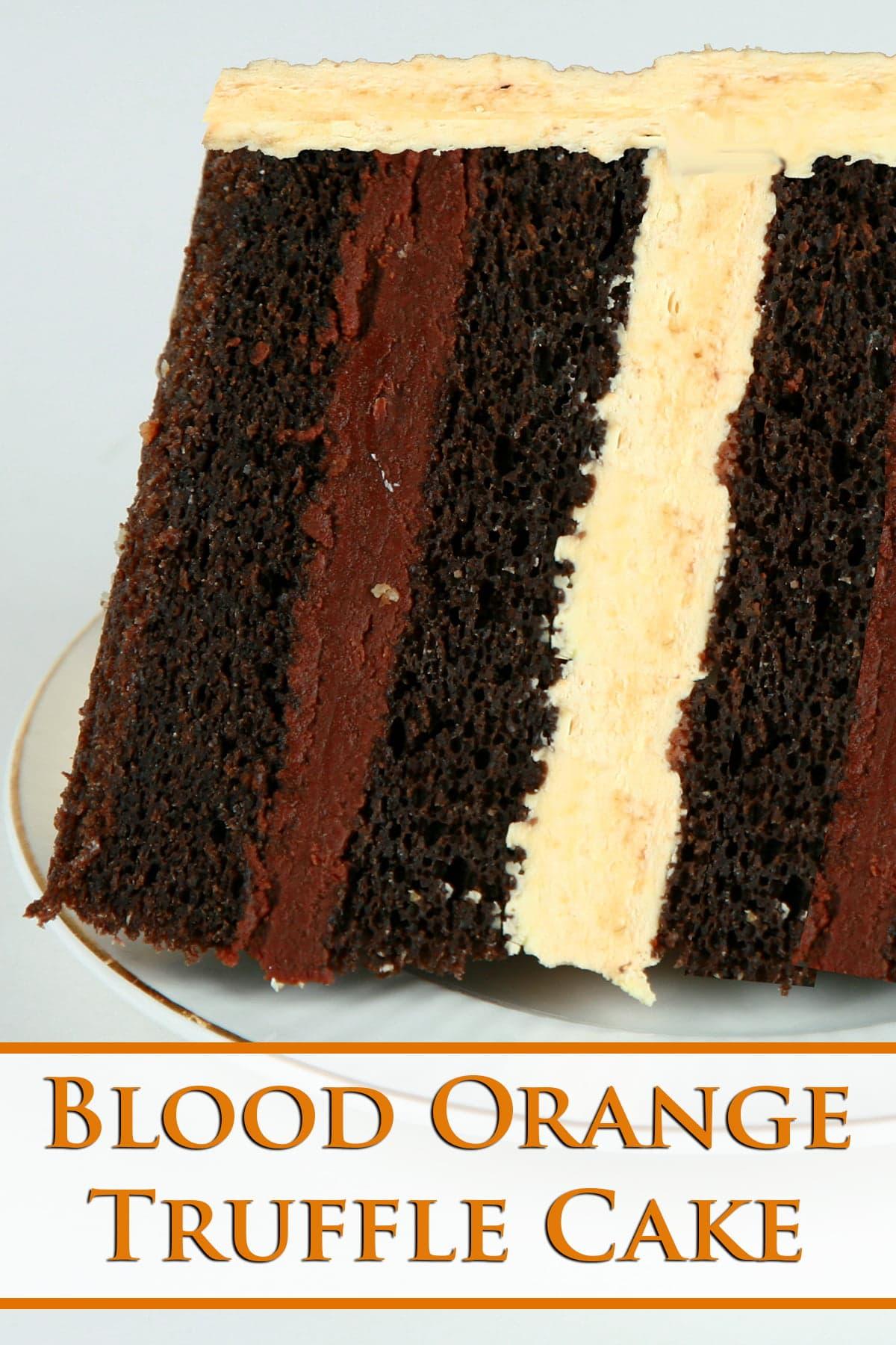 A slice of blood orange truffle cake - dark chocolate cake with layers of blood orange buttercream and blood orange chocolate ganache.