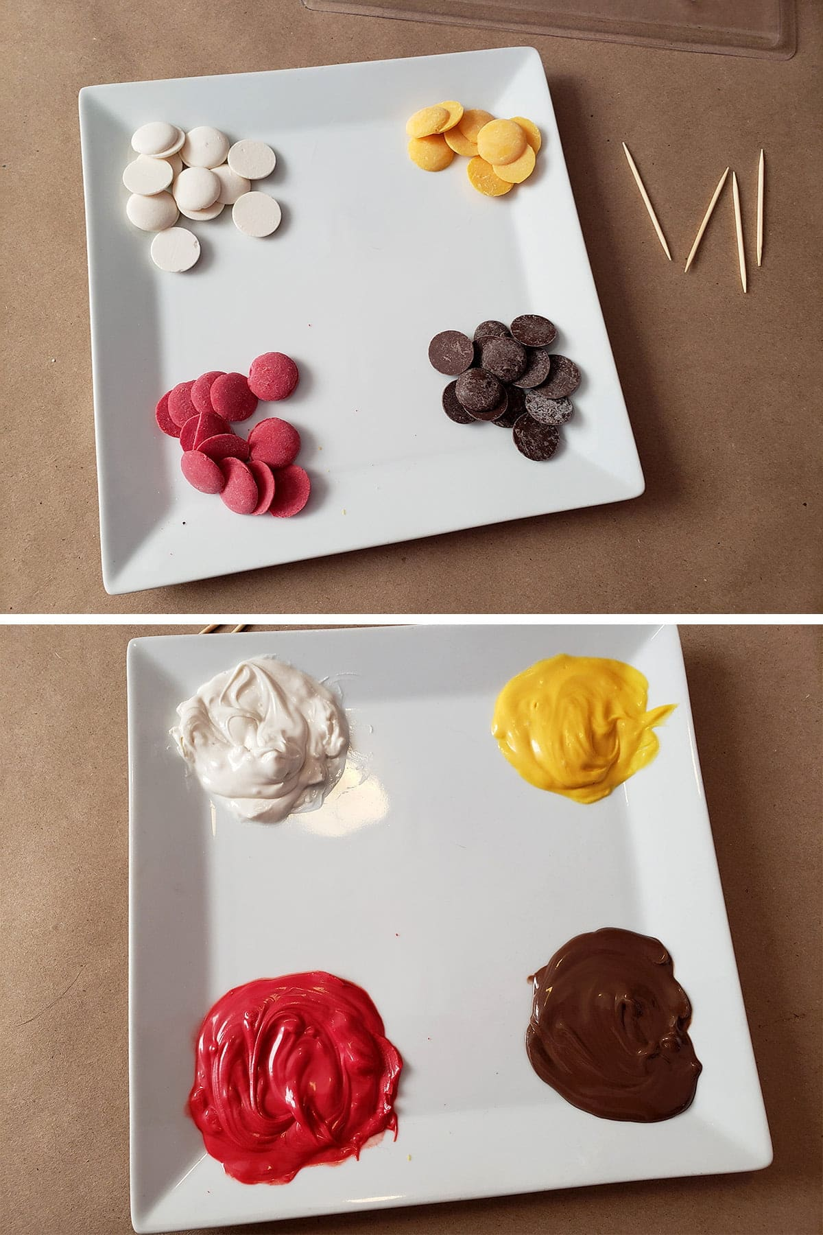 A two compilation image. The top photo shows small piles o candy melts on a plate - one each of red, white, brown, and yellow. The bottom image shows the same plate, with the candy melted.