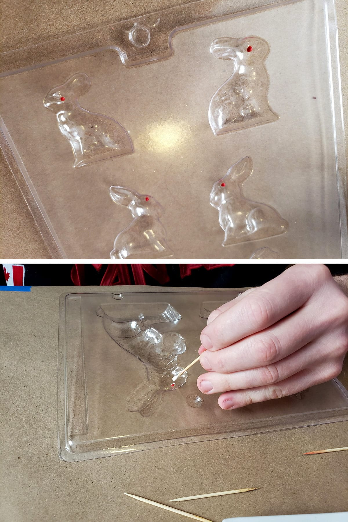 A hand uses a toothpick to apply melted candy to the details of a clear plastic bunny mold.