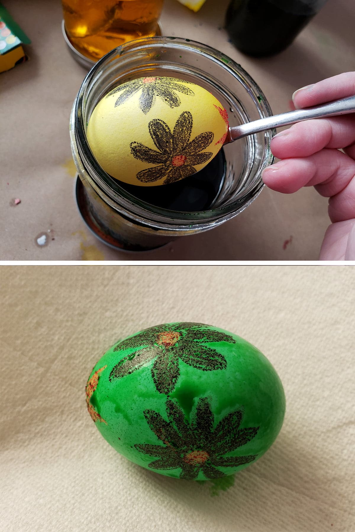 A two part image showing a yellow egg with black daisies on it being lowered into a jar of green dye, then shows it as a green egg with black daisies on it.