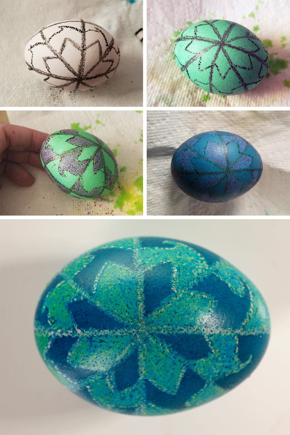 A 5 part compilation image showing a progression from a white egg with a black design drawn on it, through to a finished pysanky egg with a teal and blue geometric design covering it.