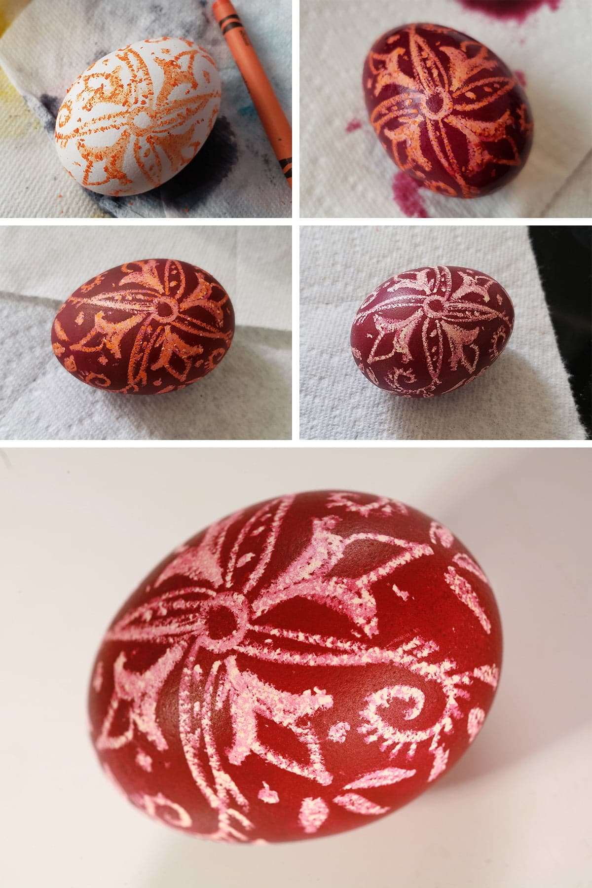 A 5 part compilation image showing a pysanky egg progression from a white egg with orange swirl design on it, through to a completed Easter Egg that is a deep red colour with white wax resist design on it.