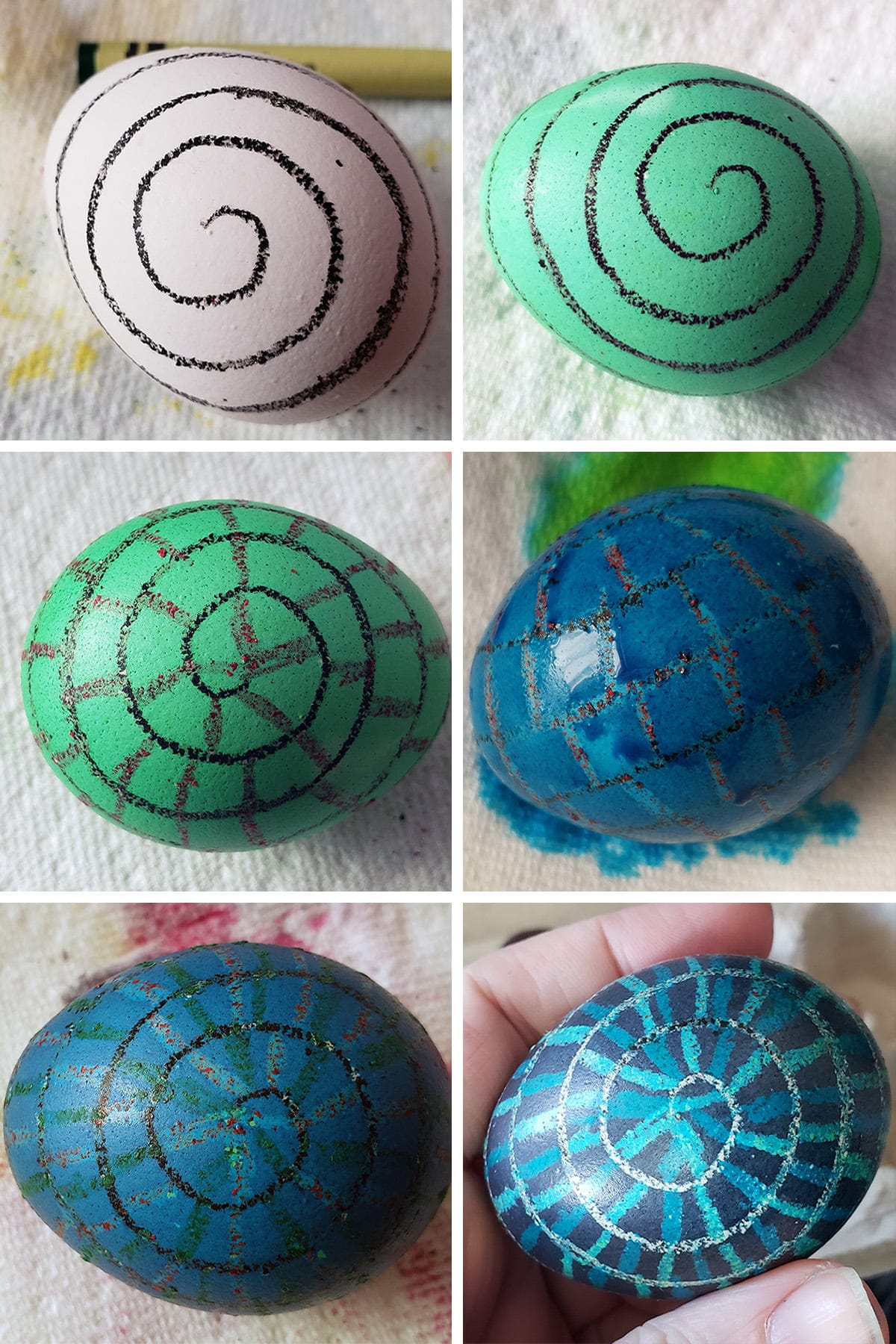 A 6 part compilation image showing a progression from a white egg with a black spiral drawn on it, to a finished Easter egg with a white, blue, and green spiral ladder design on a dark blue background.