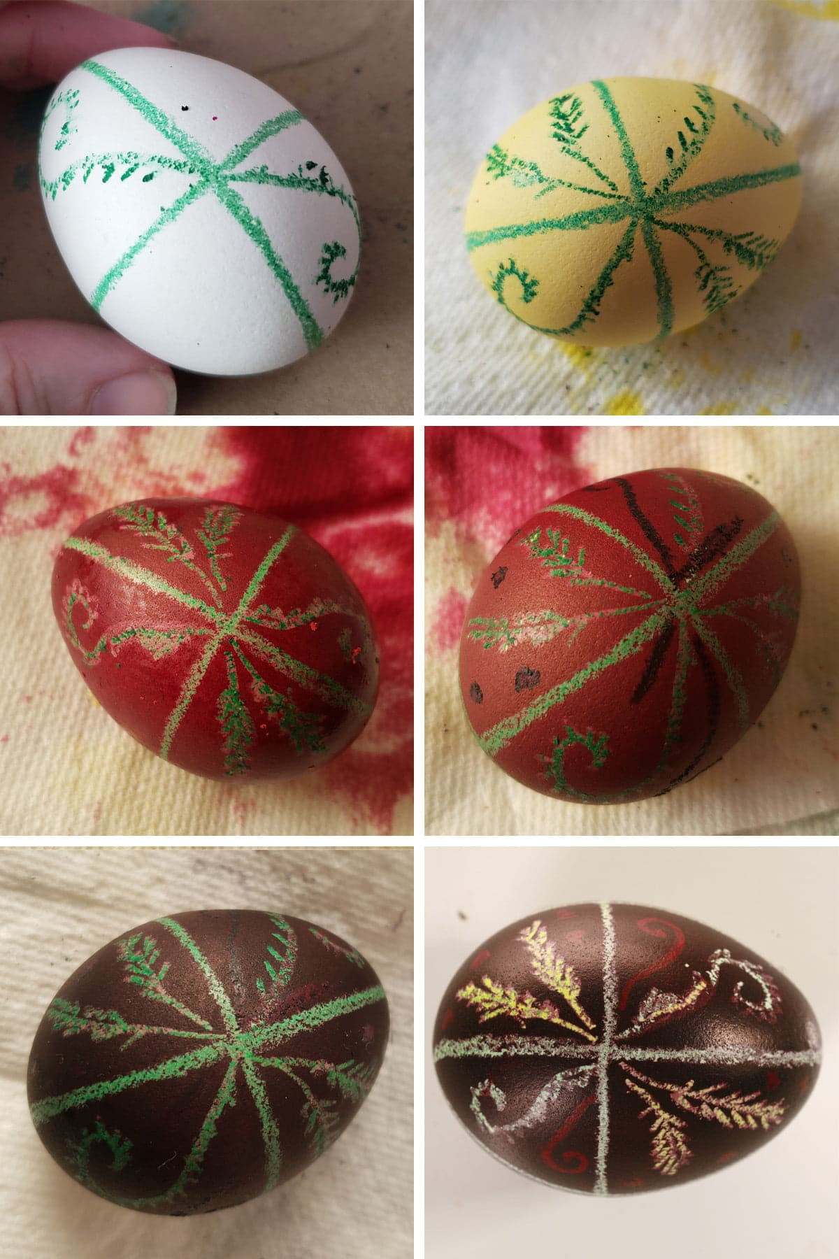 A 6 part compilation image showing a progression of a Pysanky dyed egg. It started out as a white egg with a blue design drawn onto it in crayon, all the way through to being a black egg with white, red, and yellow design.