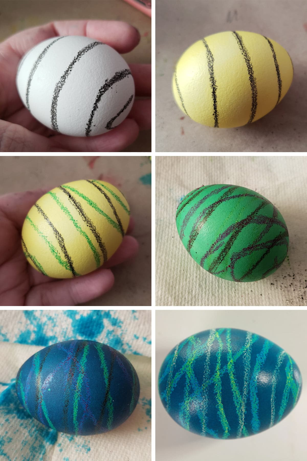 A 6 part compilation image showing the progression from a white egg with a black crayon spiral design drawn on it, through yellow, green, and blue dye steps.