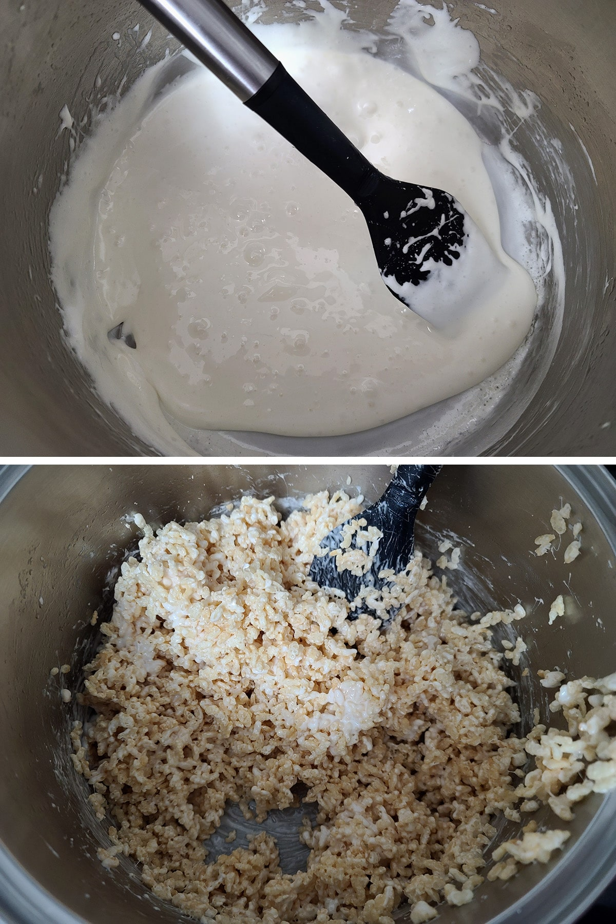 A two part compilation image showing melted marshmallows in a pot, then rice crispies added.