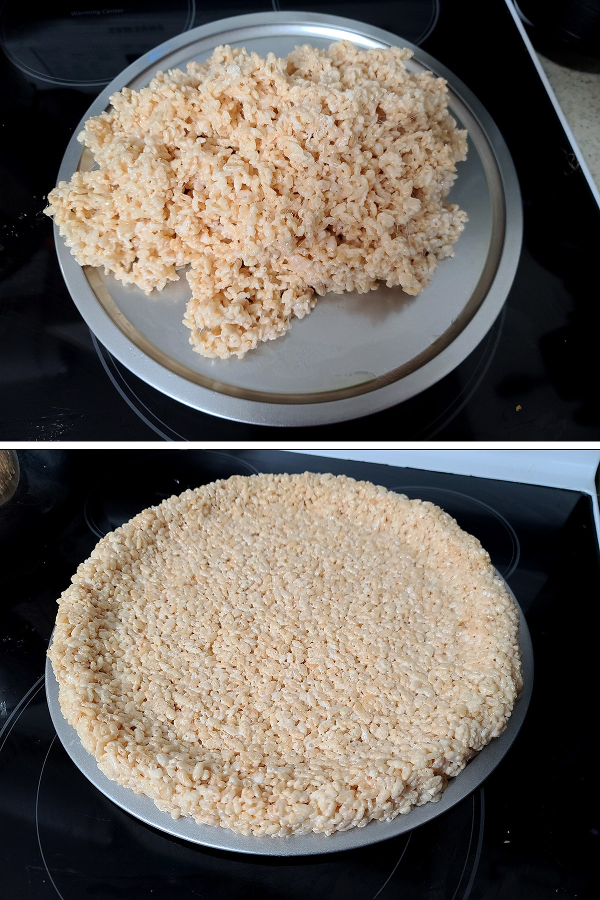 A two part compilation image showing rice crispy treat mix dumped into a pizza pan, then spread out and formed into a crust in the pan.