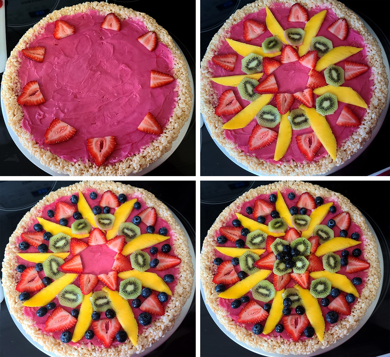 A four part compilation image showing the progression from plain sorbet/crust, through the addition of several types of fruit, into the fully decorated dessert pizza.