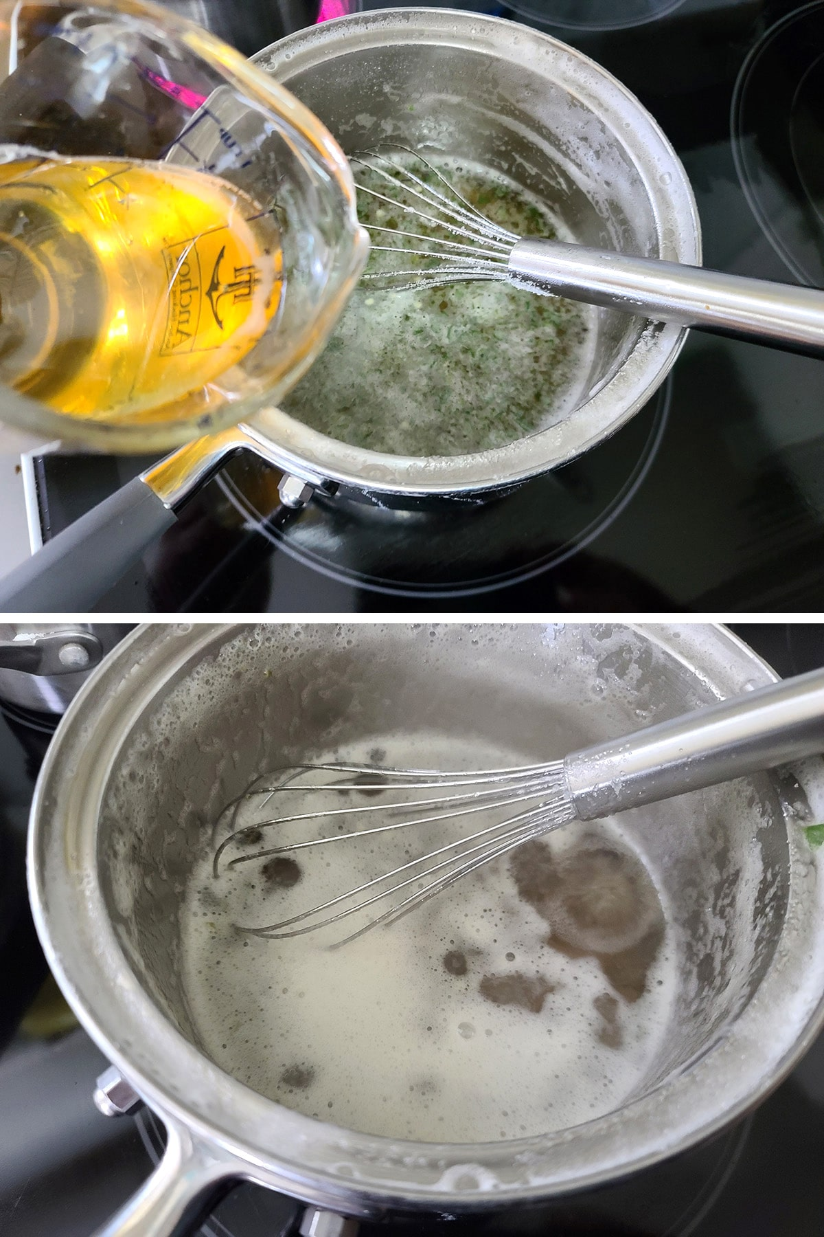 A two part image showing honey being added to the jalapeno beer mixture, and the pot of syrup simmering.